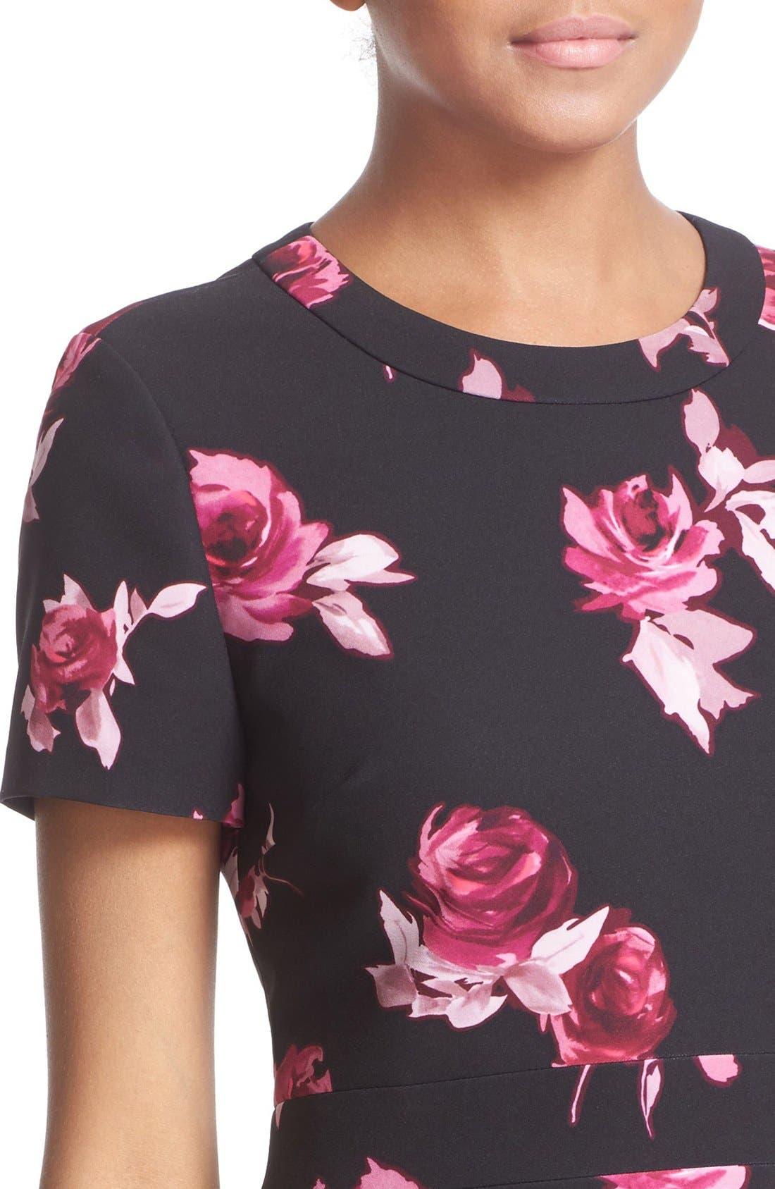 KATE SPADE NEW YORK, 'encore rose' crepe fit & flare dress, Alternate thumbnail 4, color, 001