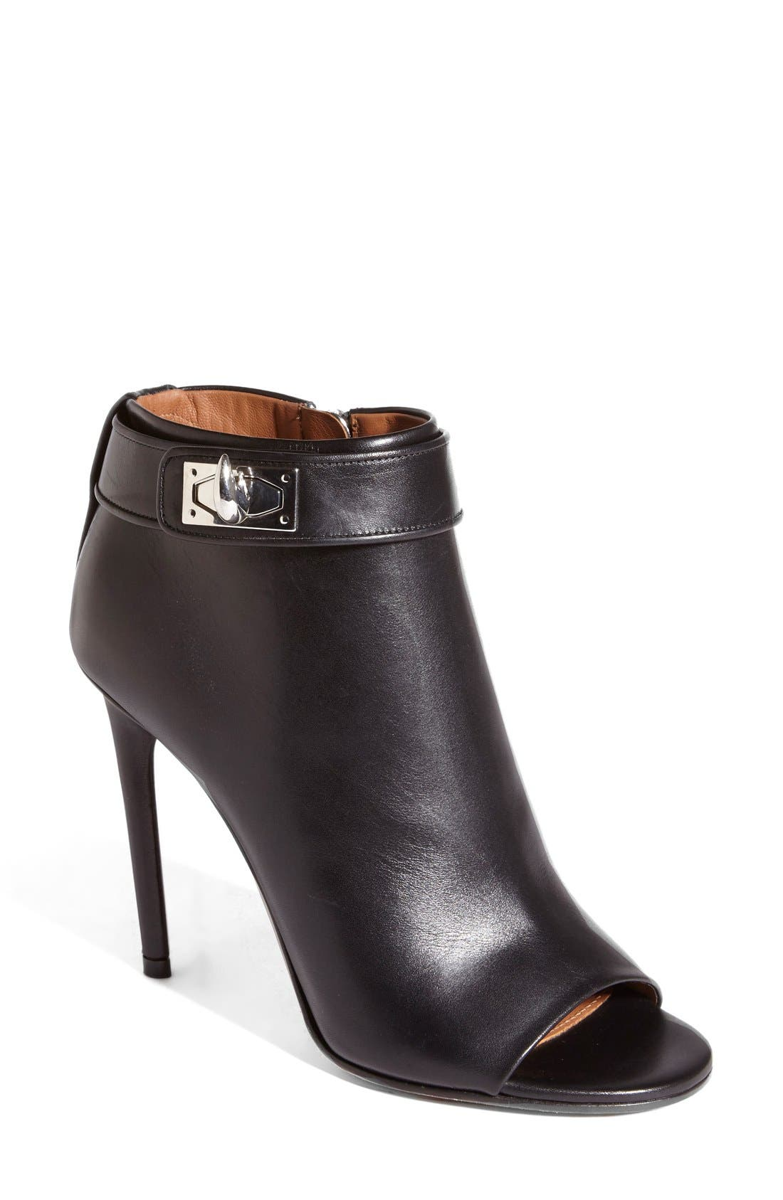 GIVENCHY, 'Ryka' Shark Tooth Open Toe Bootie, Main thumbnail 1, color, 001