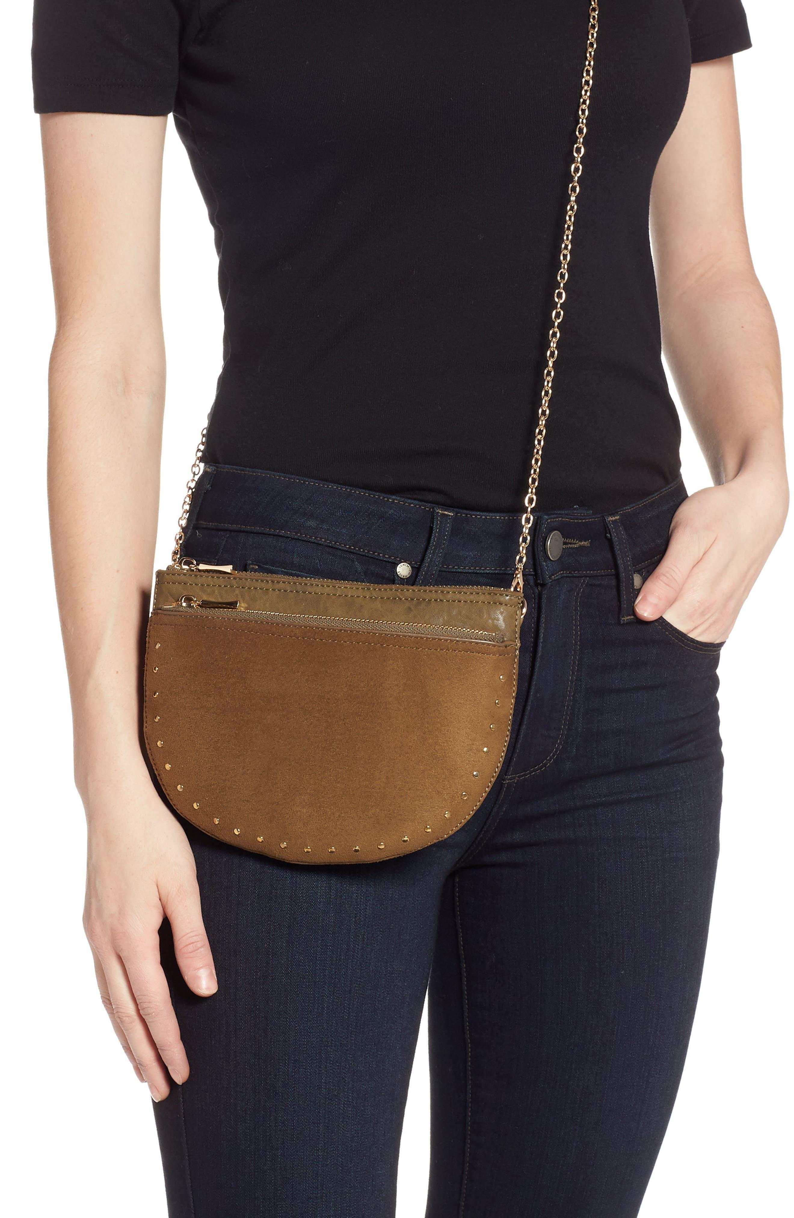 SOLE SOCIETY, Jeana Studded Convertible Belt Bag, Alternate thumbnail 4, color, OLIVE
