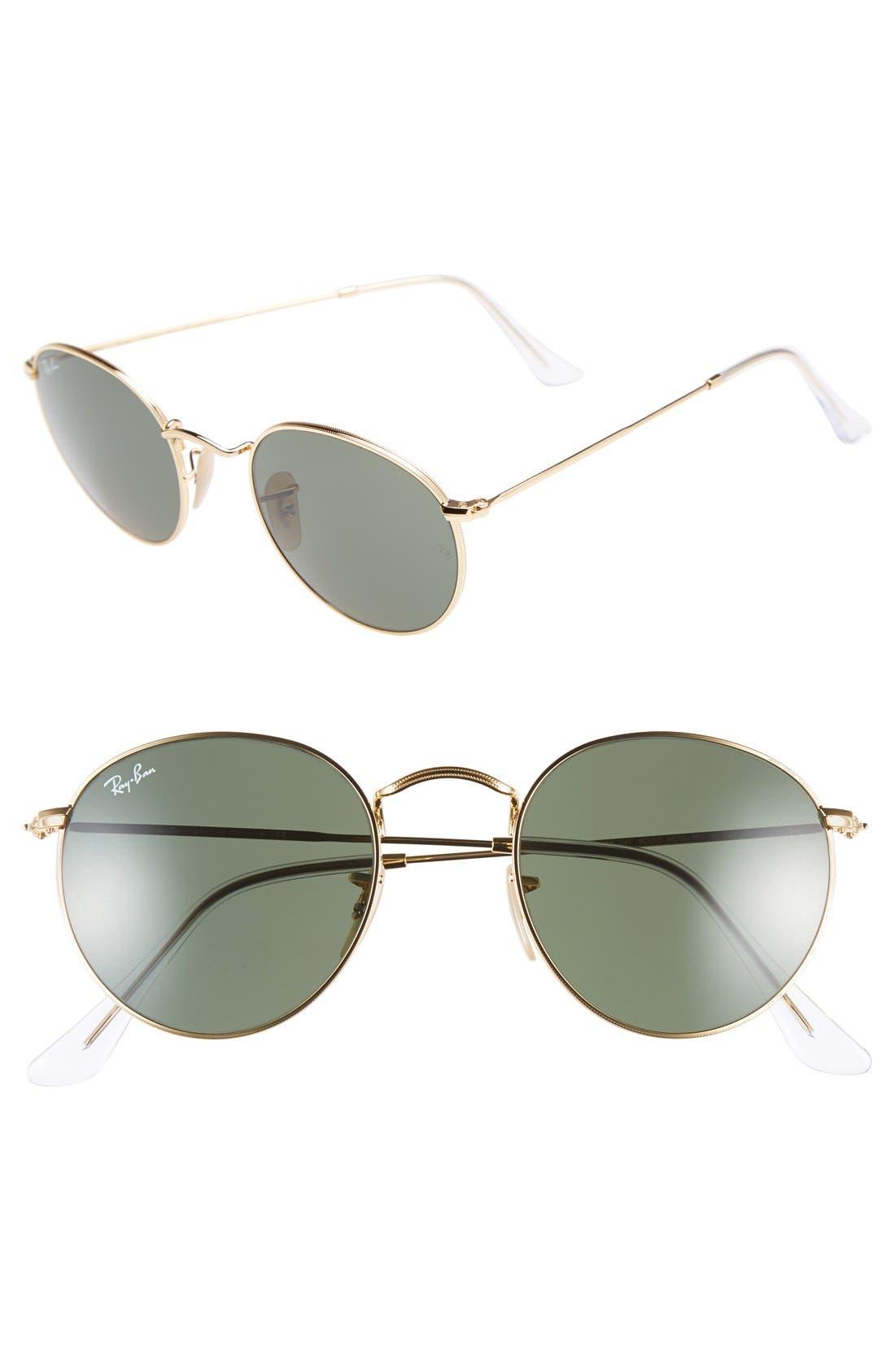 RAY-BAN, Icons 50mm Round Metal Sunglasses, Main thumbnail 1, color, GOLD/ GREEN