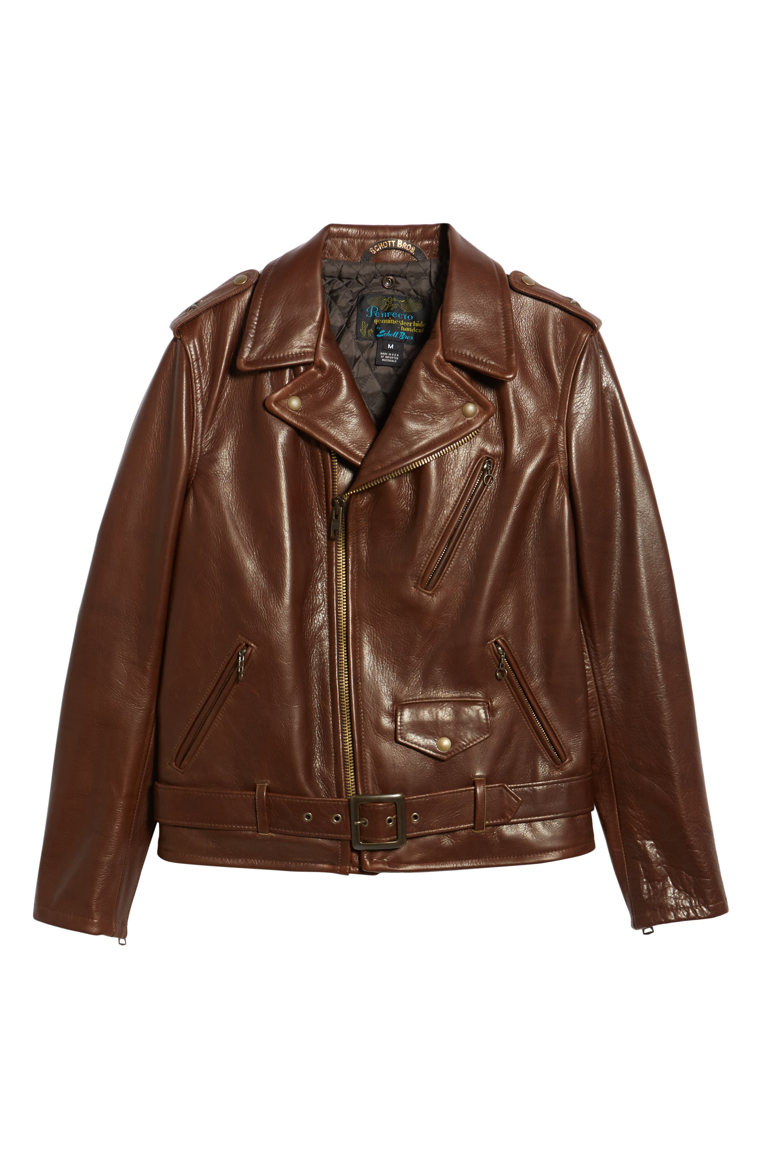 SCHOTT NYC, '50s Oil Tanned Cowhide Leather Moto Jacket, Alternate thumbnail 5, color, BROWN