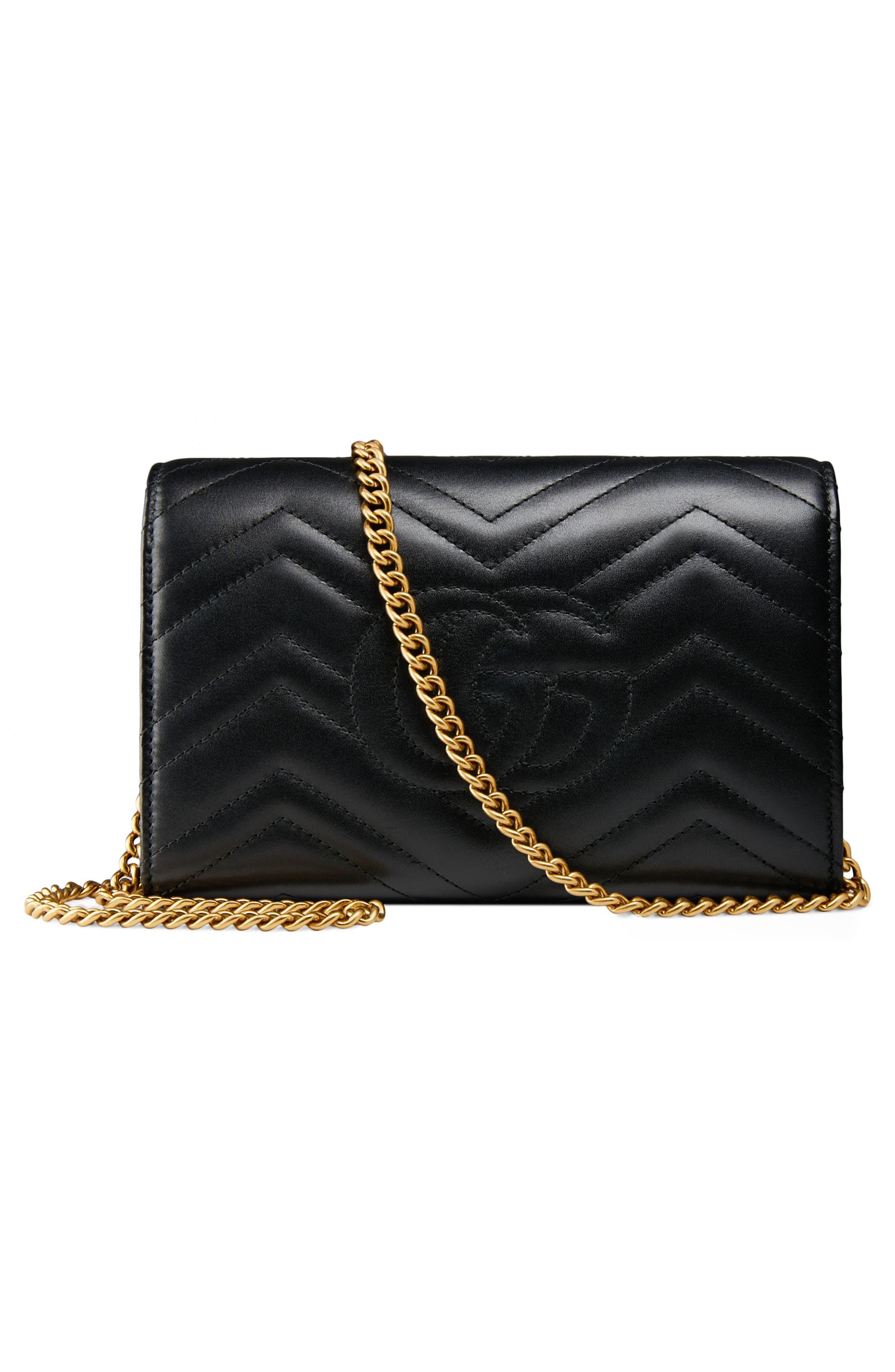 GUCCI, GG Marmont Matelassé Leather Wallet on a Chain, Alternate thumbnail 3, color, NERO