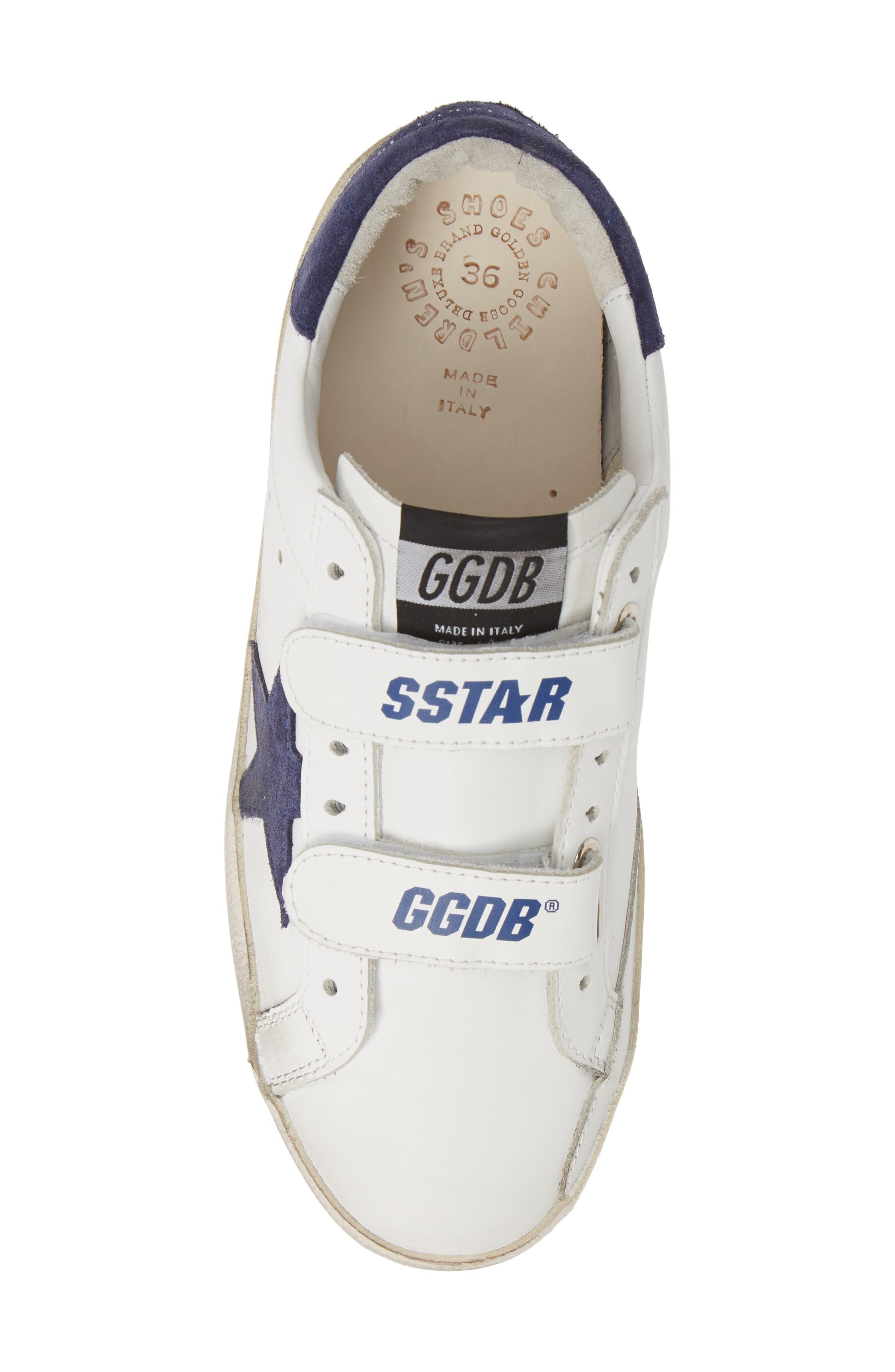 GOLDEN GOOSE, Glitter Old School Sneaker, Alternate thumbnail 5, color, WHITE LEATHER/ NAVY STAR