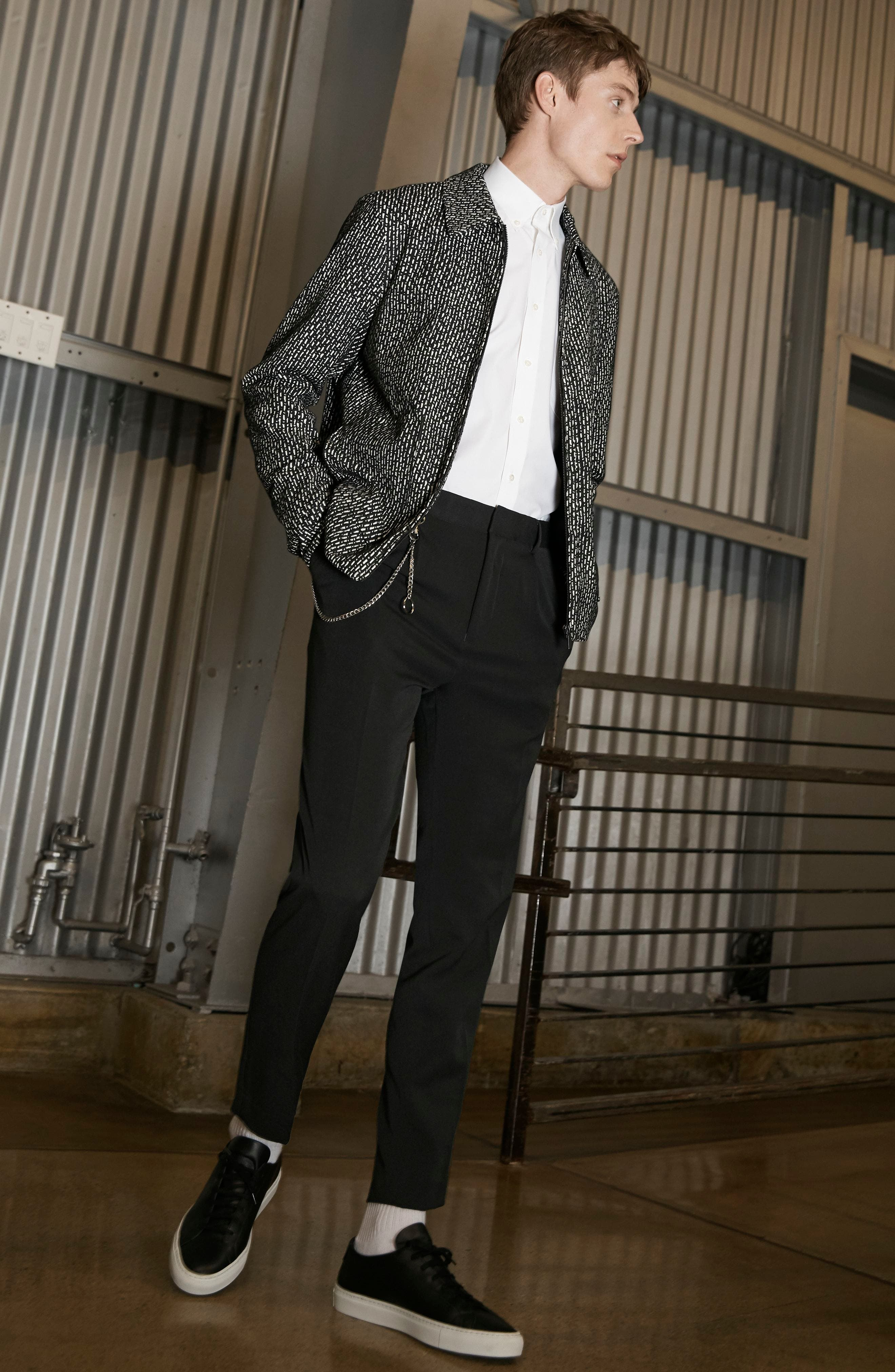 THEORY, 'Sylvain' Trim Fit Long Sleeve Sport Shirt, Alternate thumbnail 10, color, BLACK
