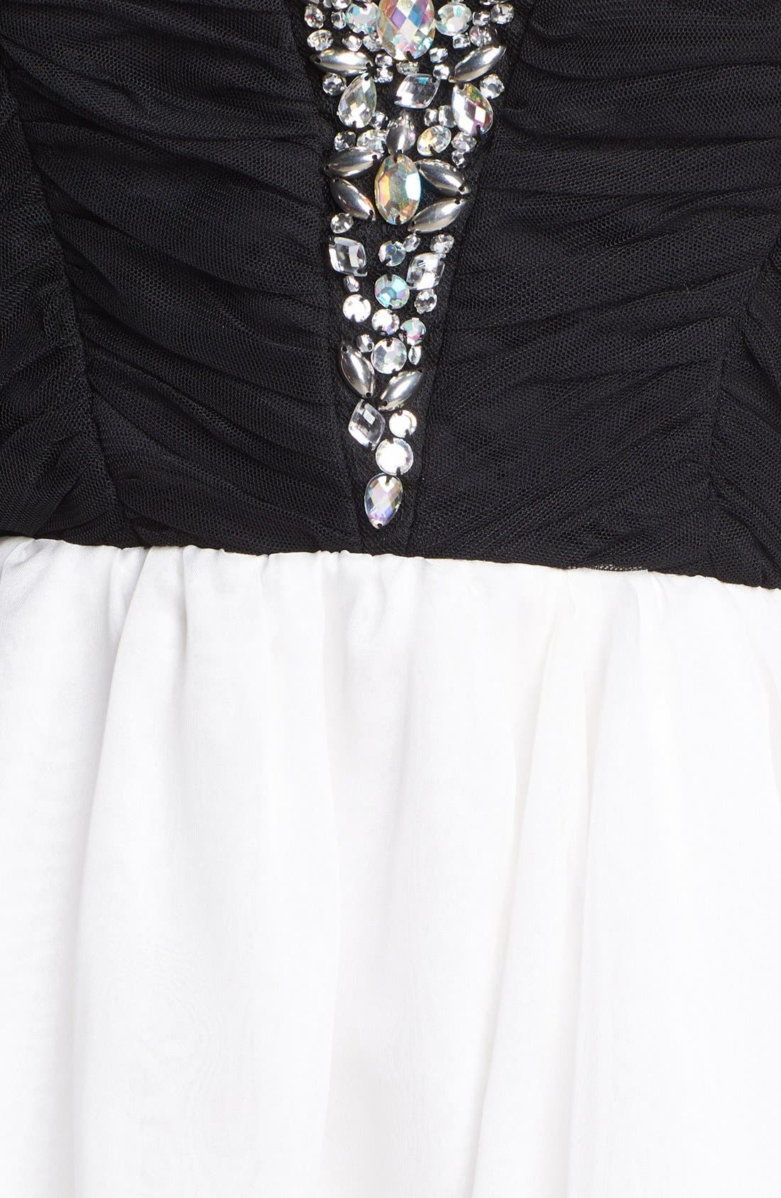 AS U WISH, Secret Charm Jeweled Mesh Fit & Flare Dress, Alternate thumbnail 3, color, 009