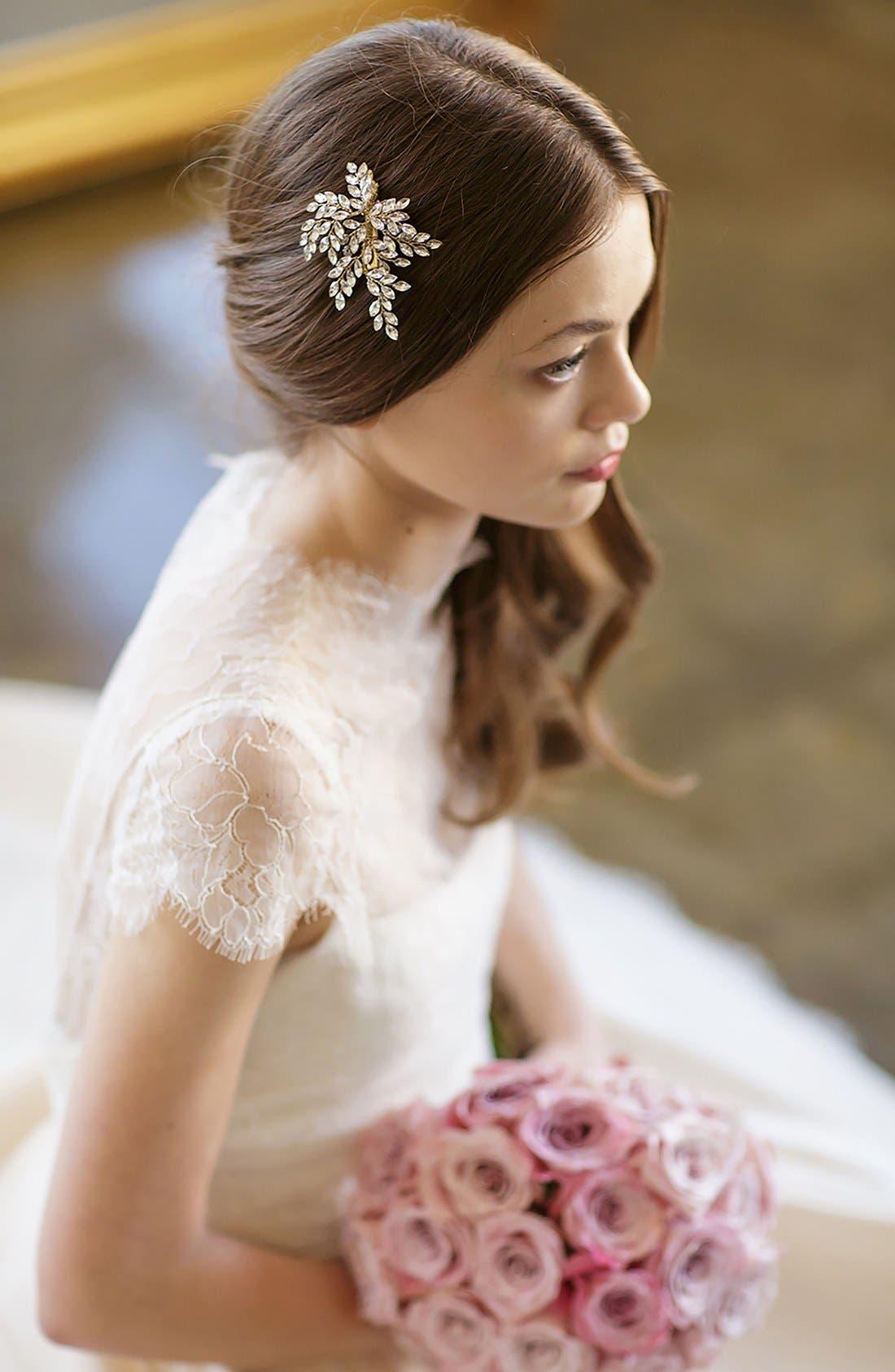 BRIDES & HAIRPINS, 'Sahara' Crystal Leaf Bendable Hair Clip, Alternate thumbnail 5, color, GOLD