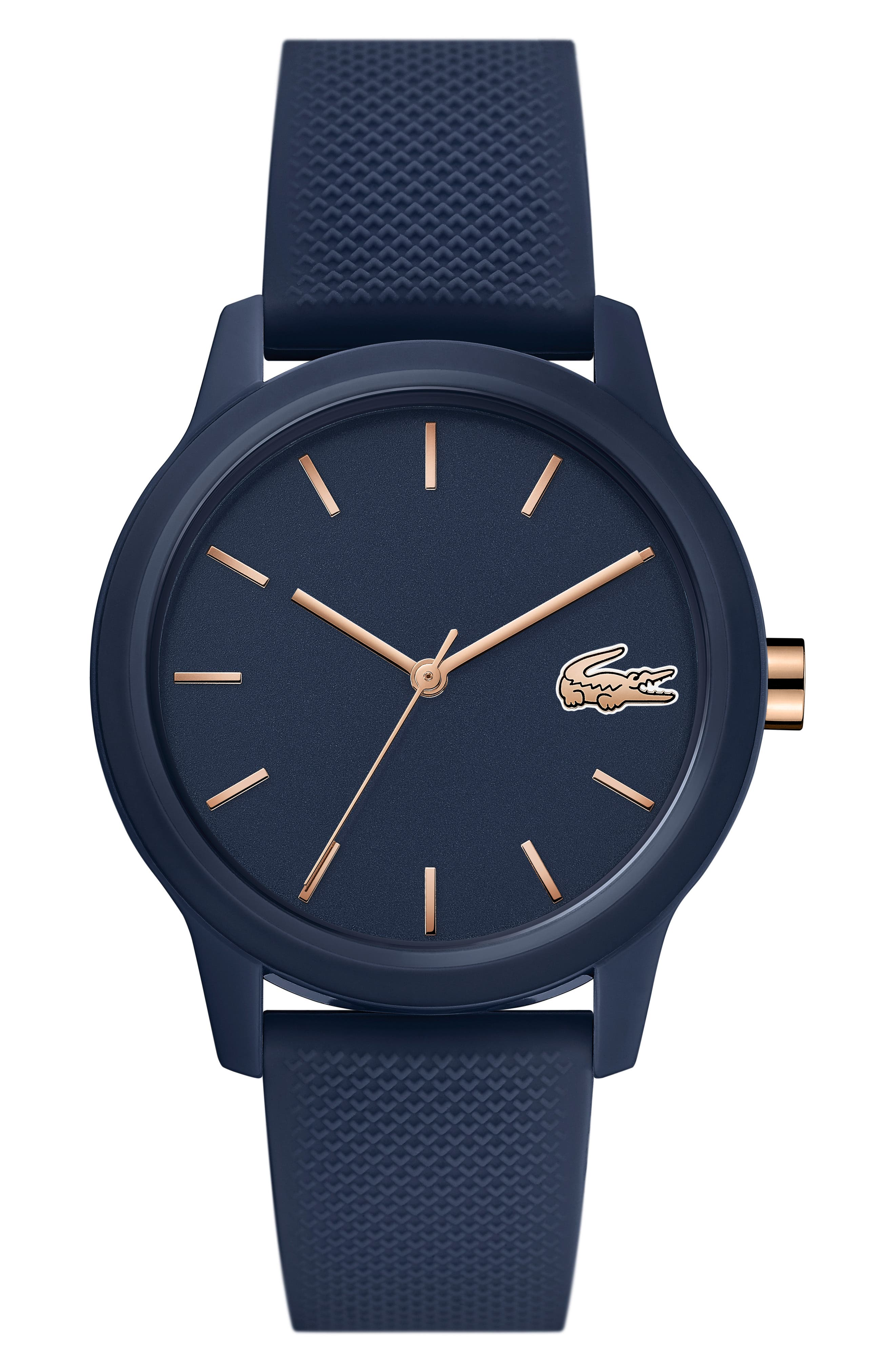LACOSTE, 12.12 Silicone Strap Watch, 36mm, Main thumbnail 1, color, BLUE