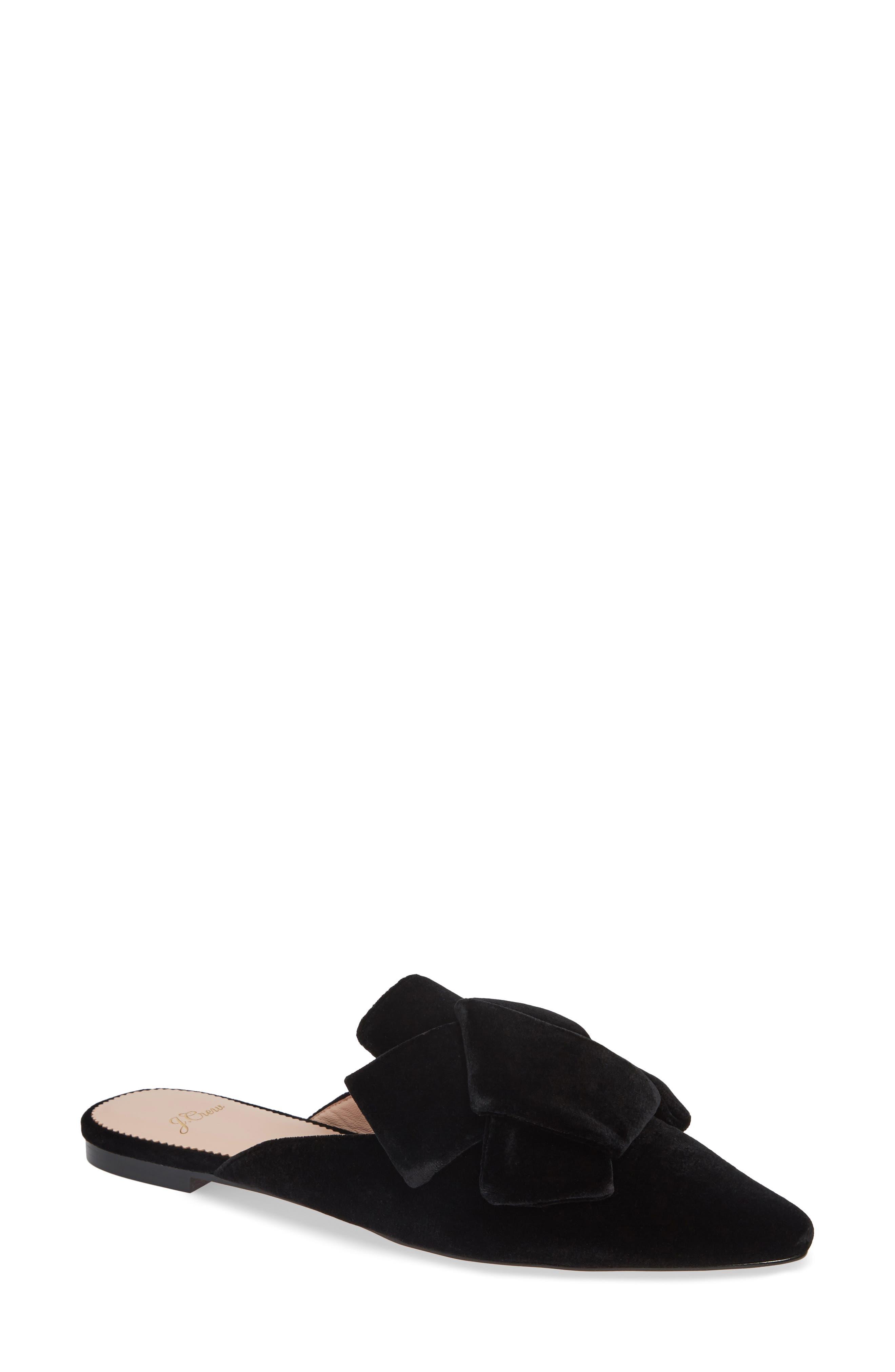 J.CREW, Pointed Toe Slide Sandal, Main thumbnail 1, color, BLACK VELVET