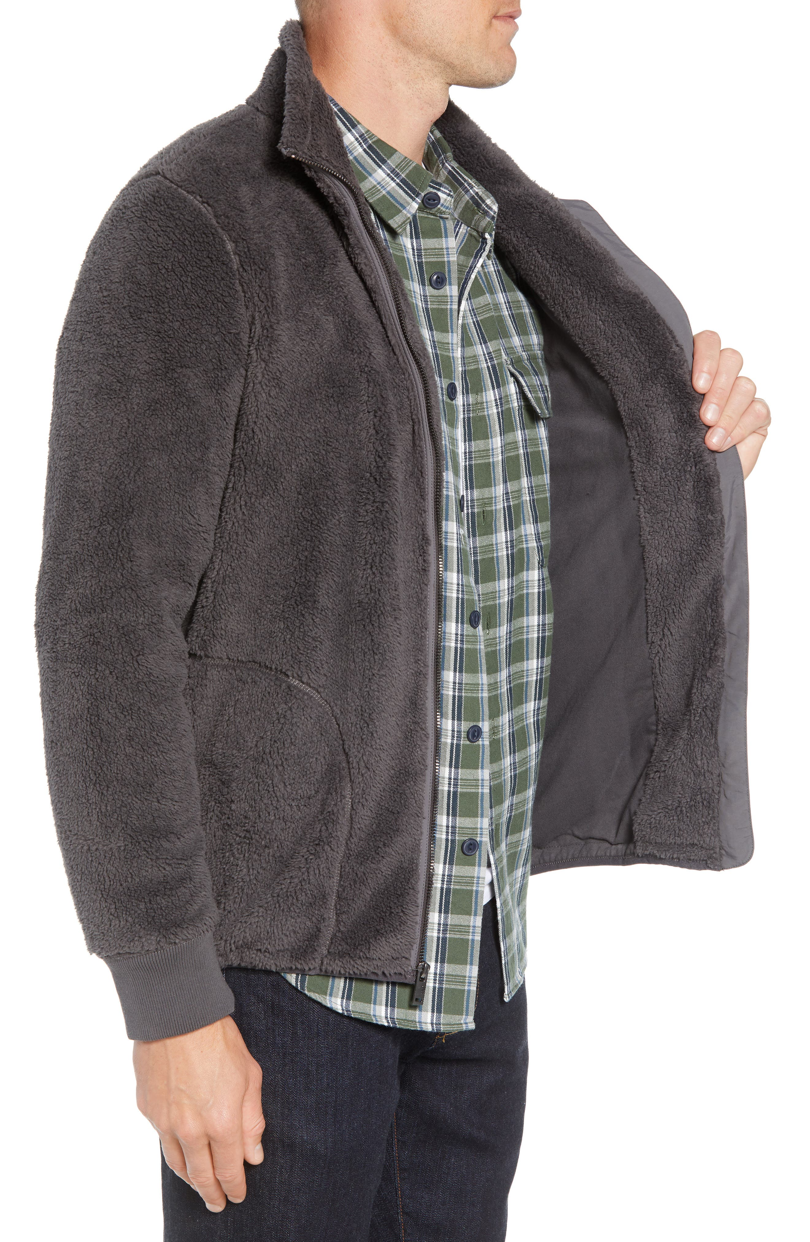 UGG<SUP>®</SUP>, Lucas High Pile Fleece Sweater Jacket, Alternate thumbnail 4, color, CHARCOAL