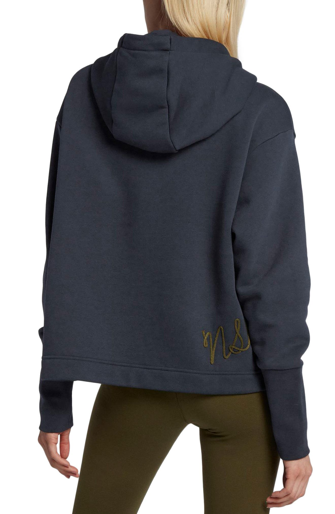 NIKE, Sportswear NSW Women's Fleece Hoodie, Alternate thumbnail 2, color, DARK OBSIDIAN/ OLIVE