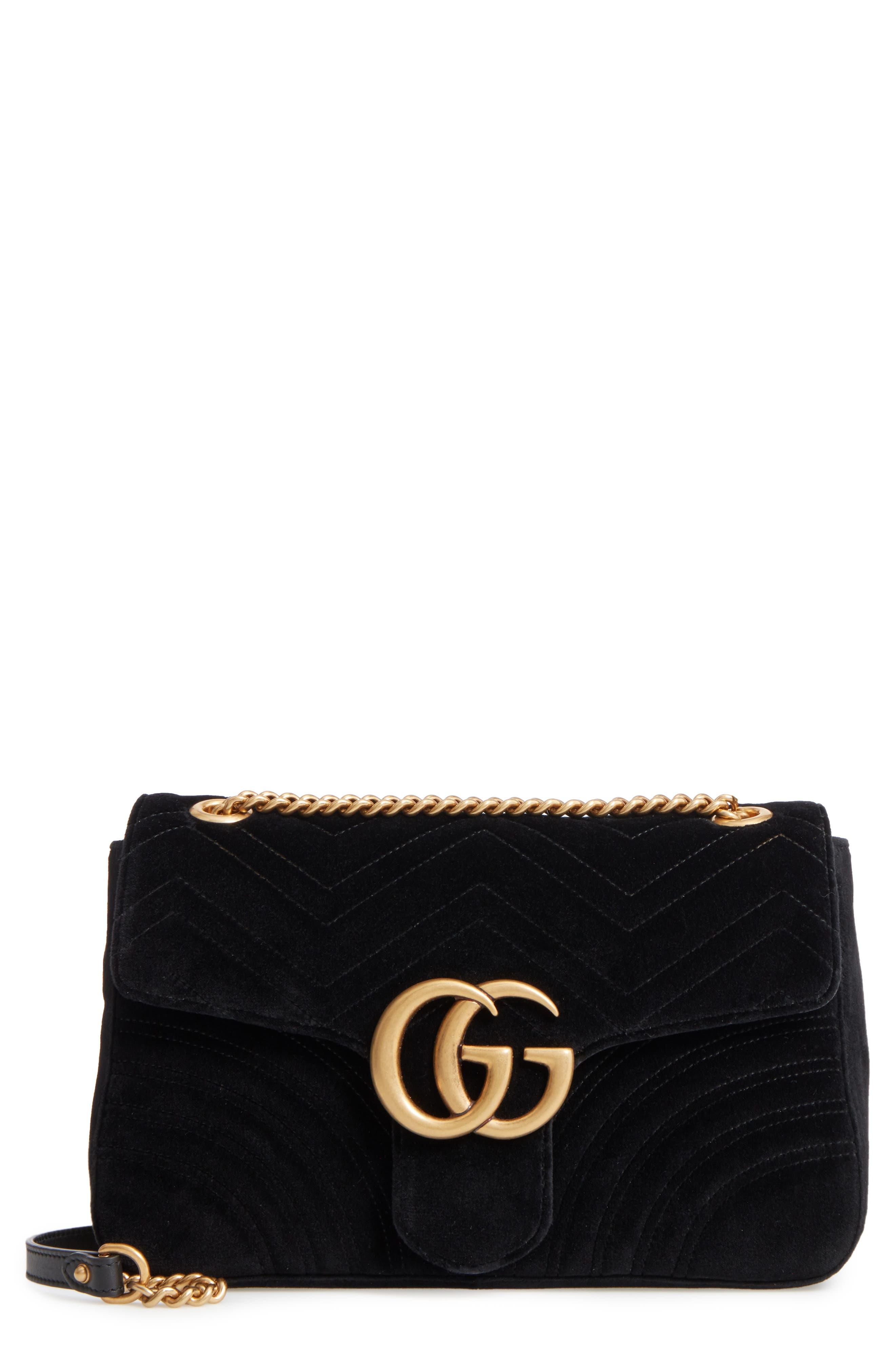 GUCCI, Medium GG Marmont 2.0 Matelassé Velvet Shoulder Bag, Main thumbnail 1, color, NERO