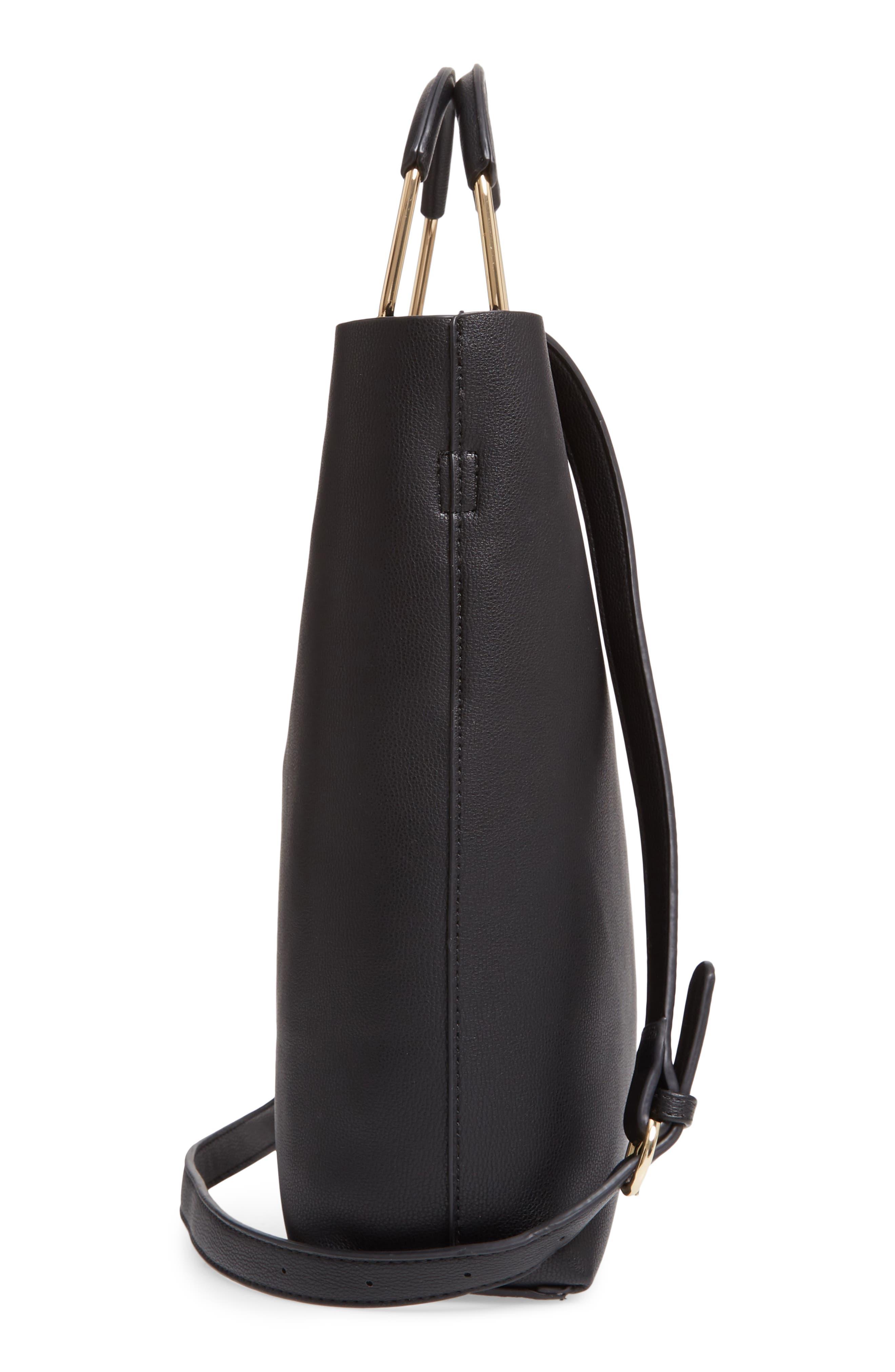 TROUVÉ, Payton Convertible Faux Leather Tote, Alternate thumbnail 5, color, BLACK