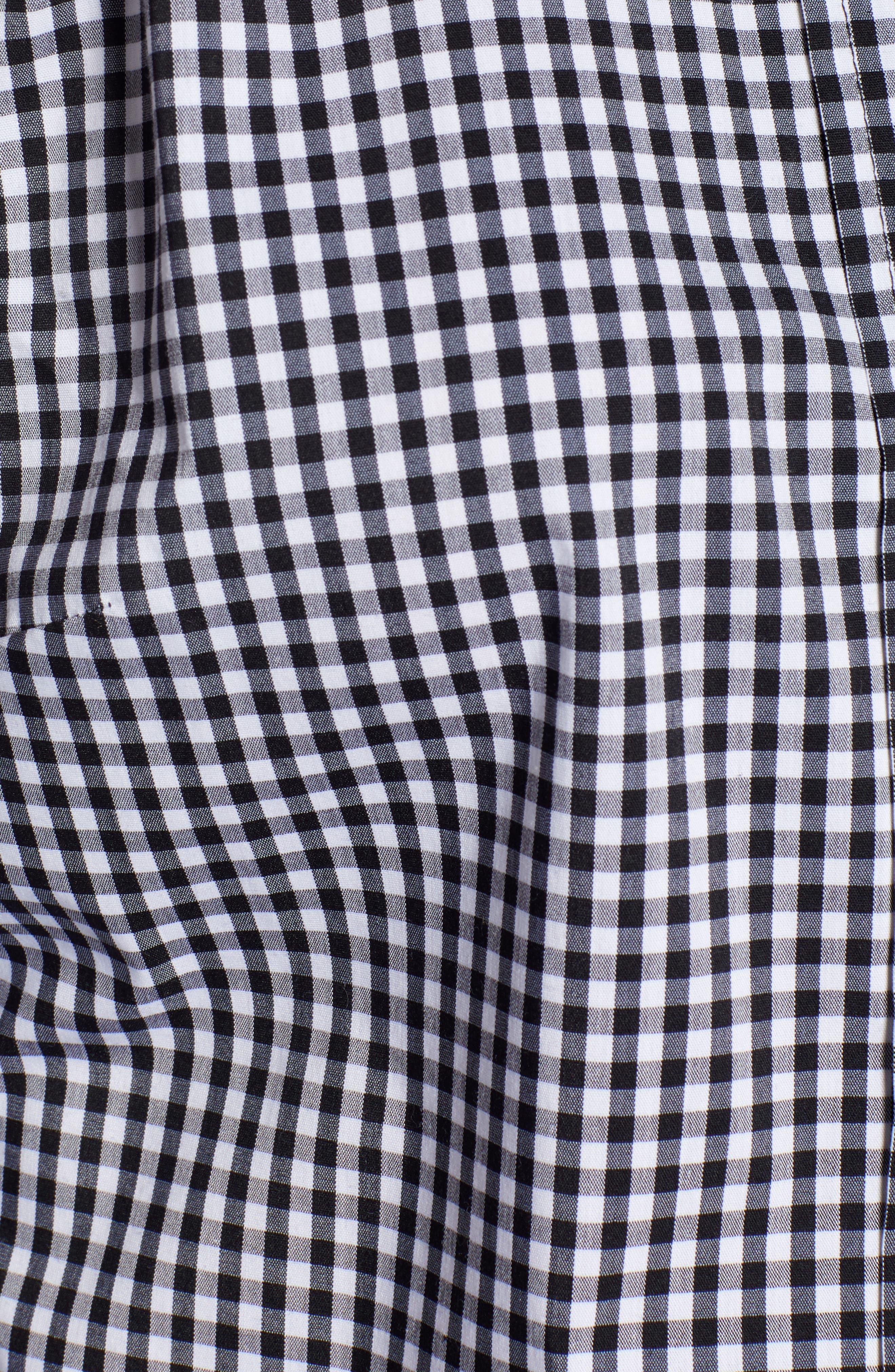 1901, Stretch Cotton Blend Shirt, Alternate thumbnail 5, color, BLACK GINGHAM