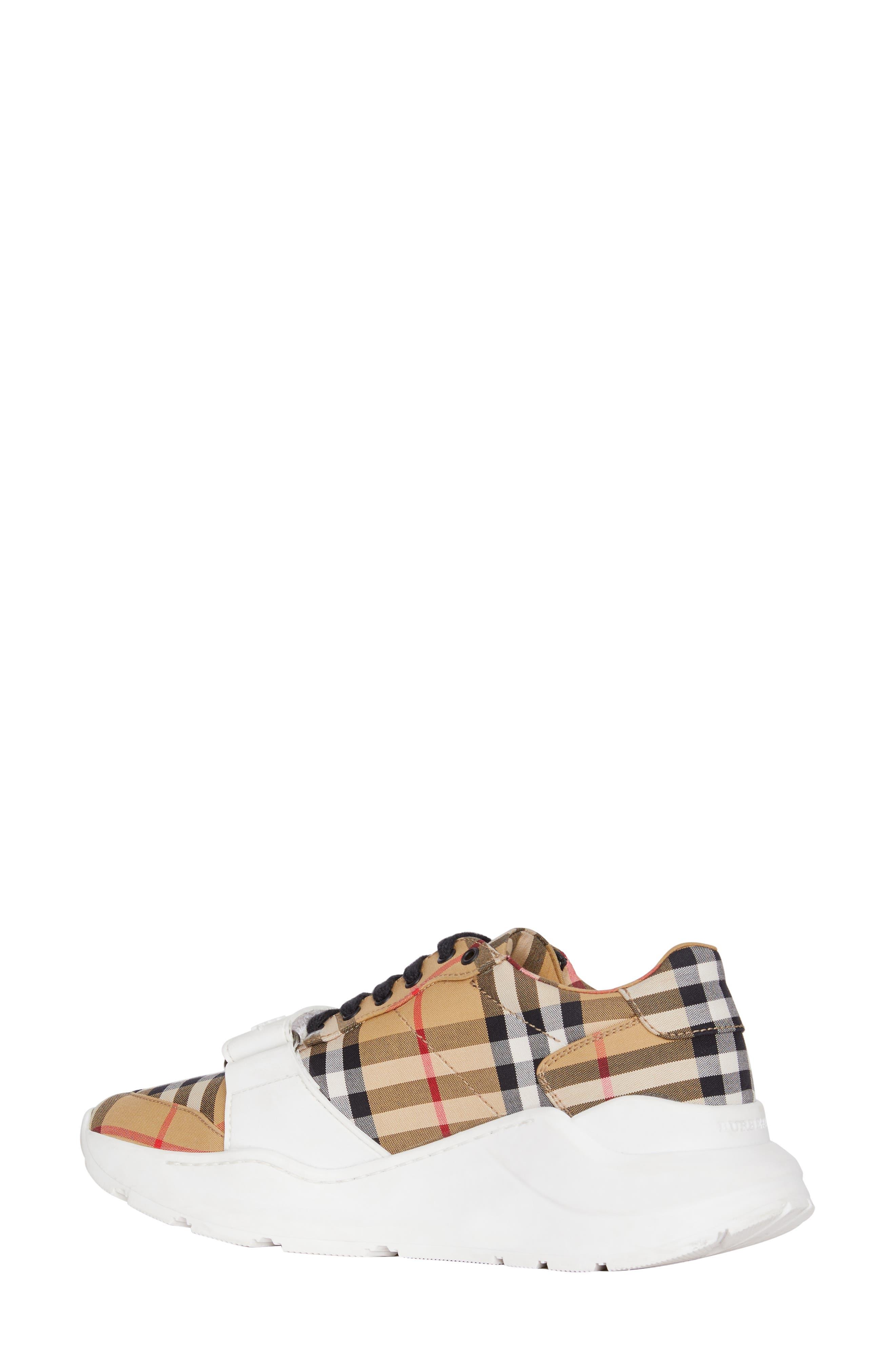 BURBERRY, Regis Check Lace-Up Sneaker, Alternate thumbnail 2, color, BEIGE PLAID