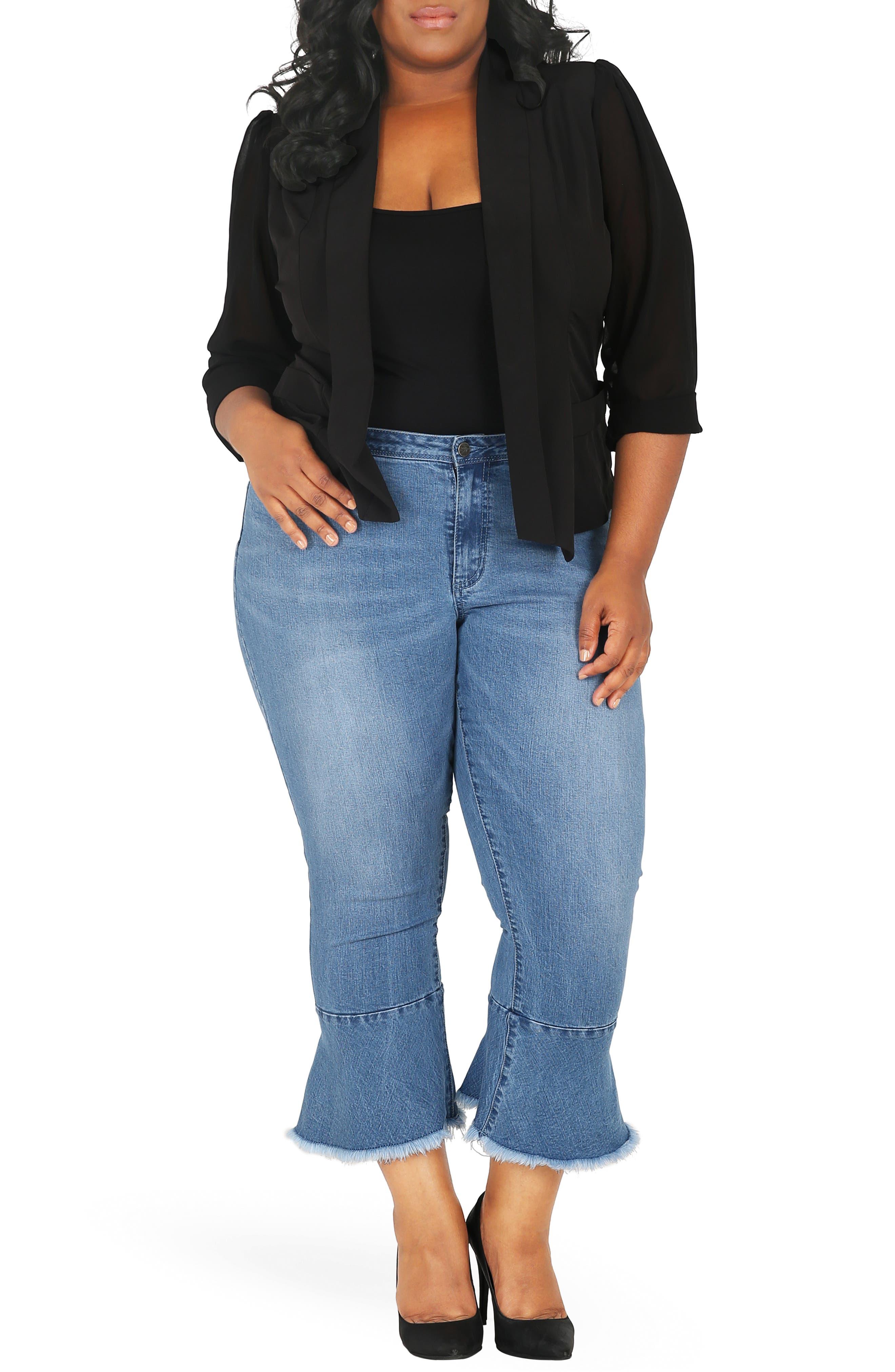 POETIC JUSTICE, Kesha Ruffle Skinny Jeans, Alternate thumbnail 5, color, BLUE