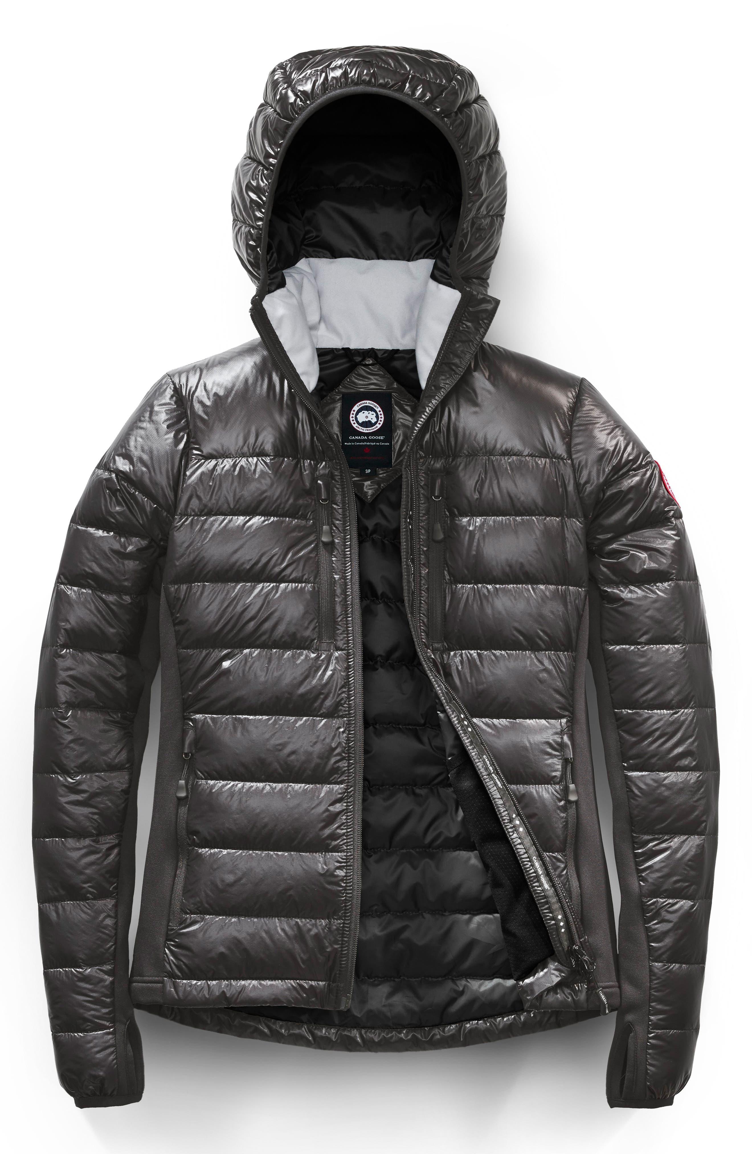CANADA GOOSE, 'Hybridge Lite' Slim Fit Hooded Packable Down Jacket, Alternate thumbnail 5, color, S GRAPHITE/ L BLACK