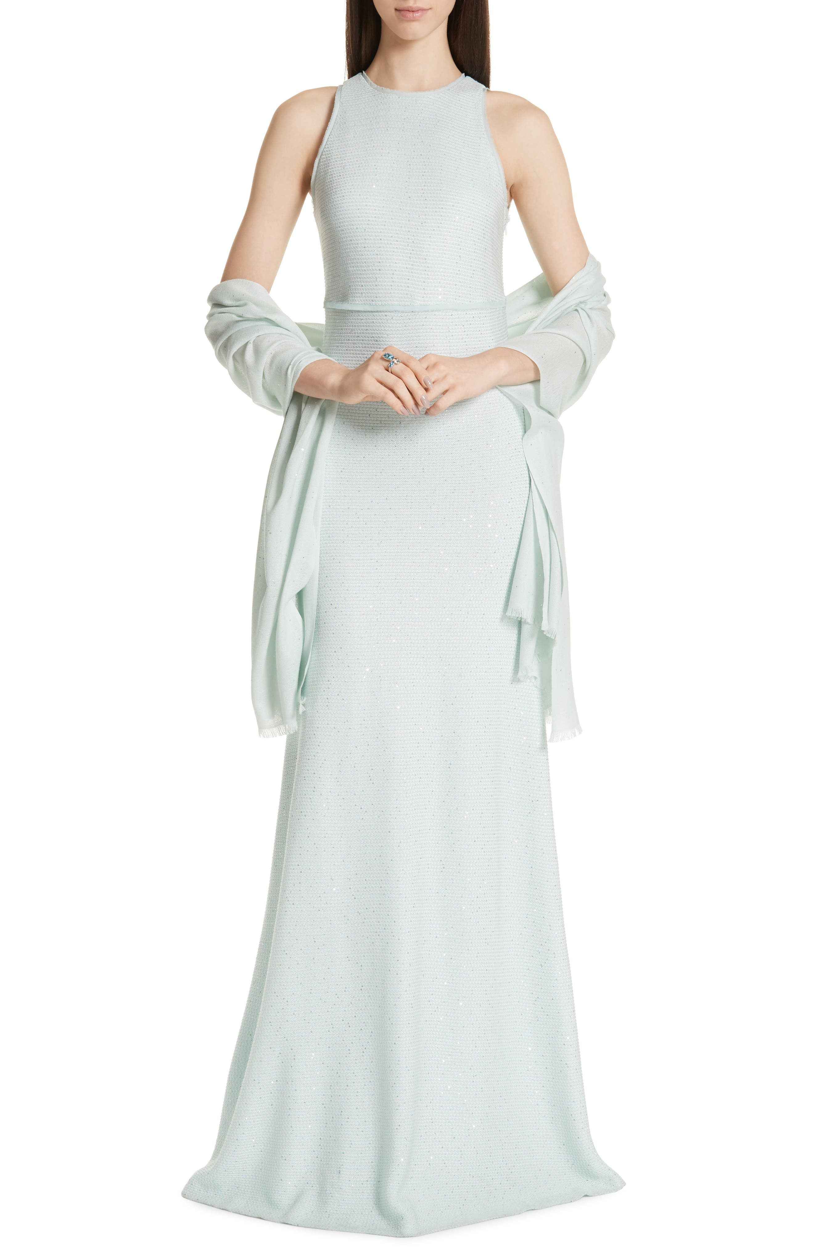 ST. JOHN COLLECTION, Links Sequin Knit Gown, Alternate thumbnail 7, color, OPAL