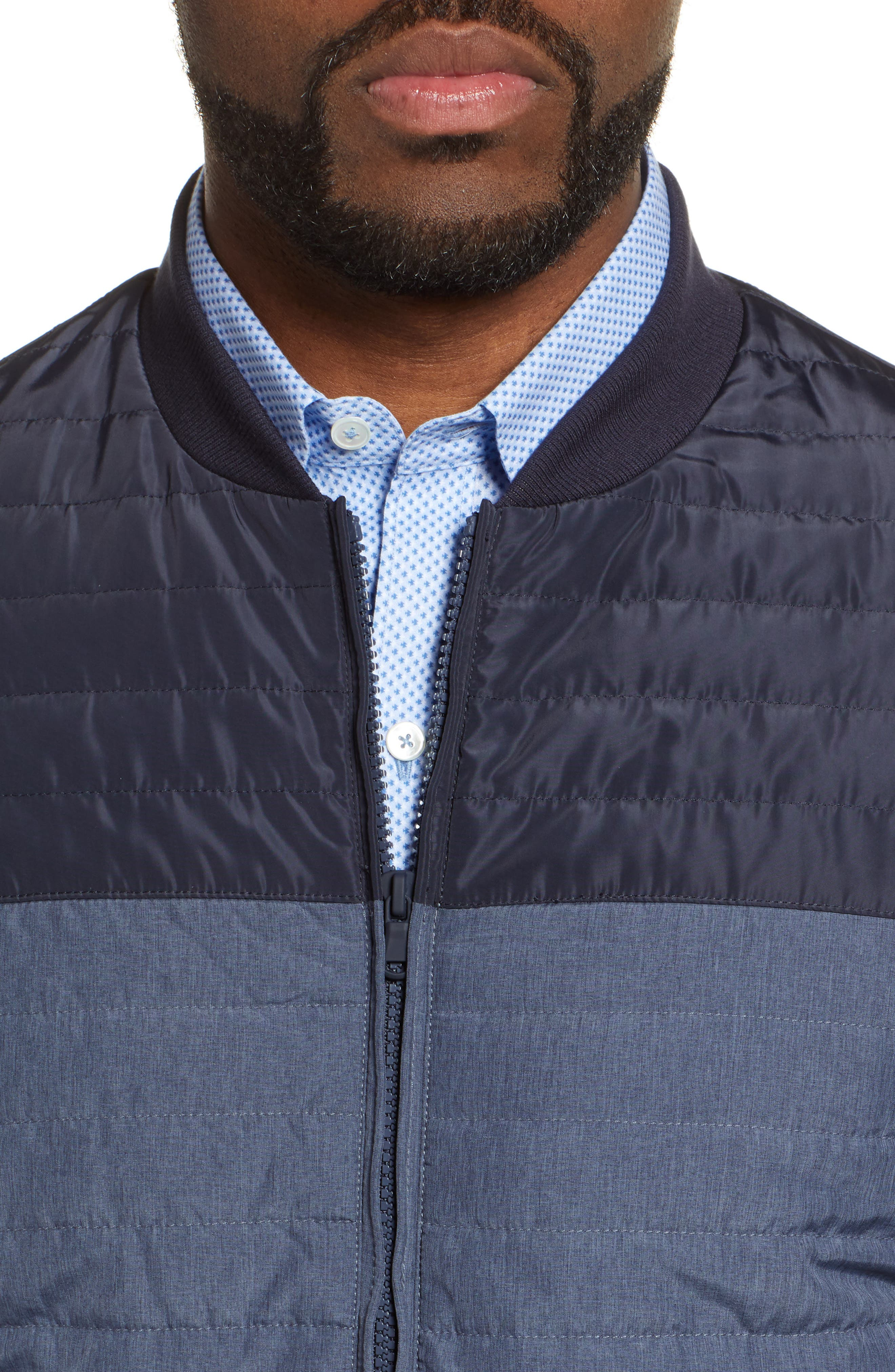 ZACHARY PRELL, Montauk Quilted Bomber Jacket, Alternate thumbnail 5, color, NAVY