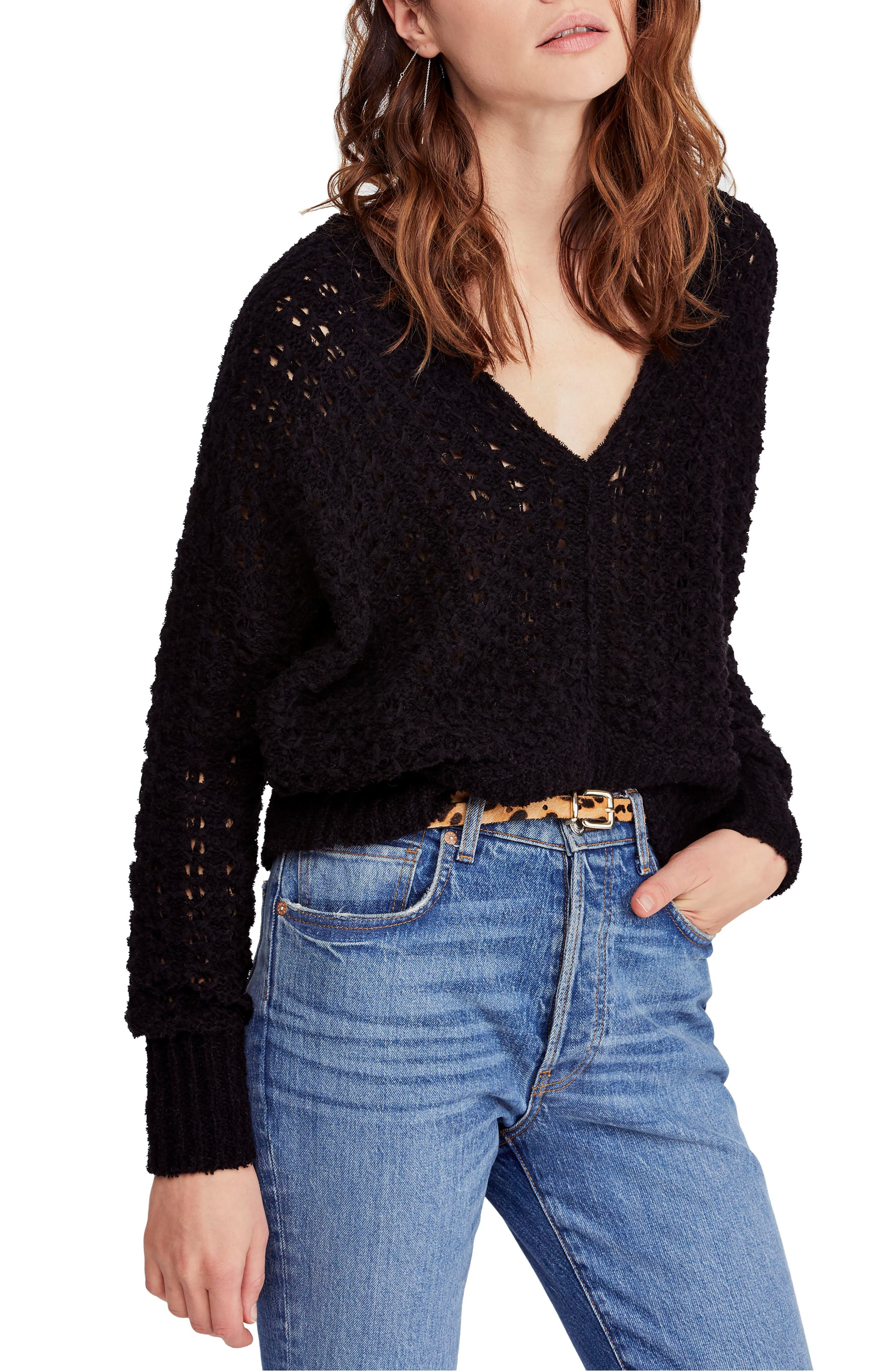 FREE PEOPLE Best of You Sweater, Main, color, BLACK