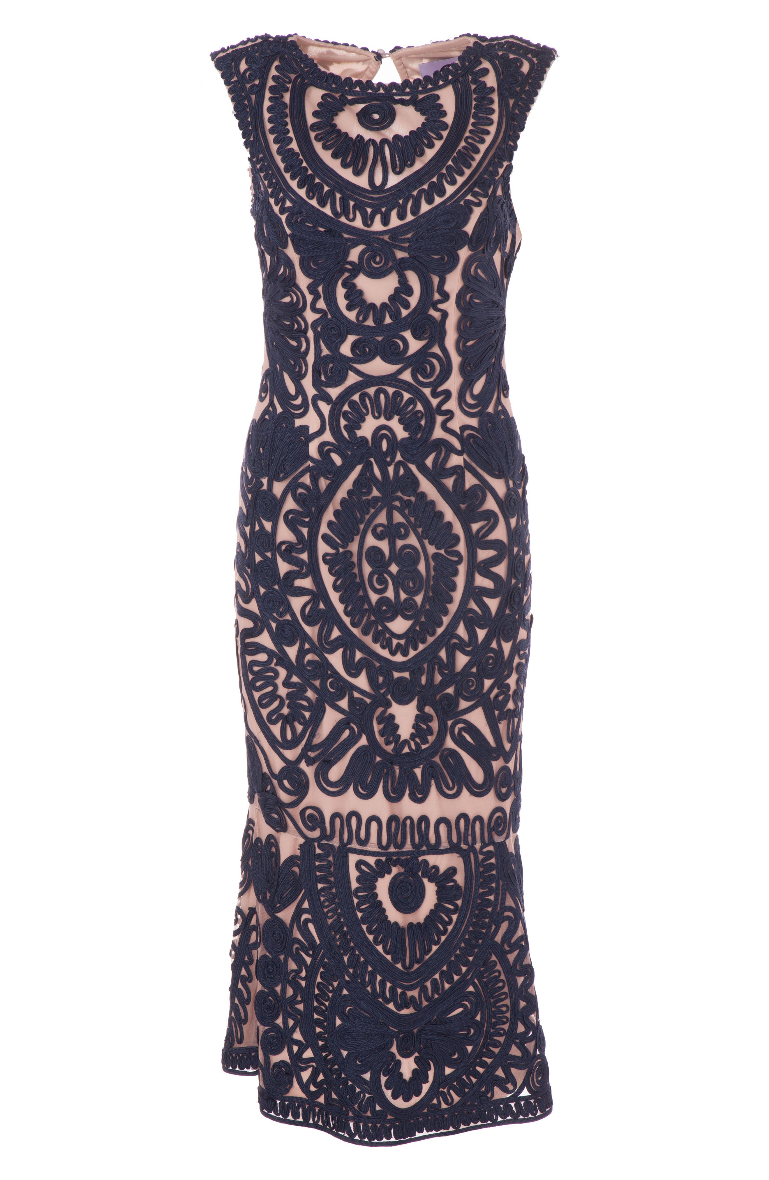 JS COLLECTIONS, Soutache Mesh Dress, Alternate thumbnail 3, color, NAVY/ NUDE