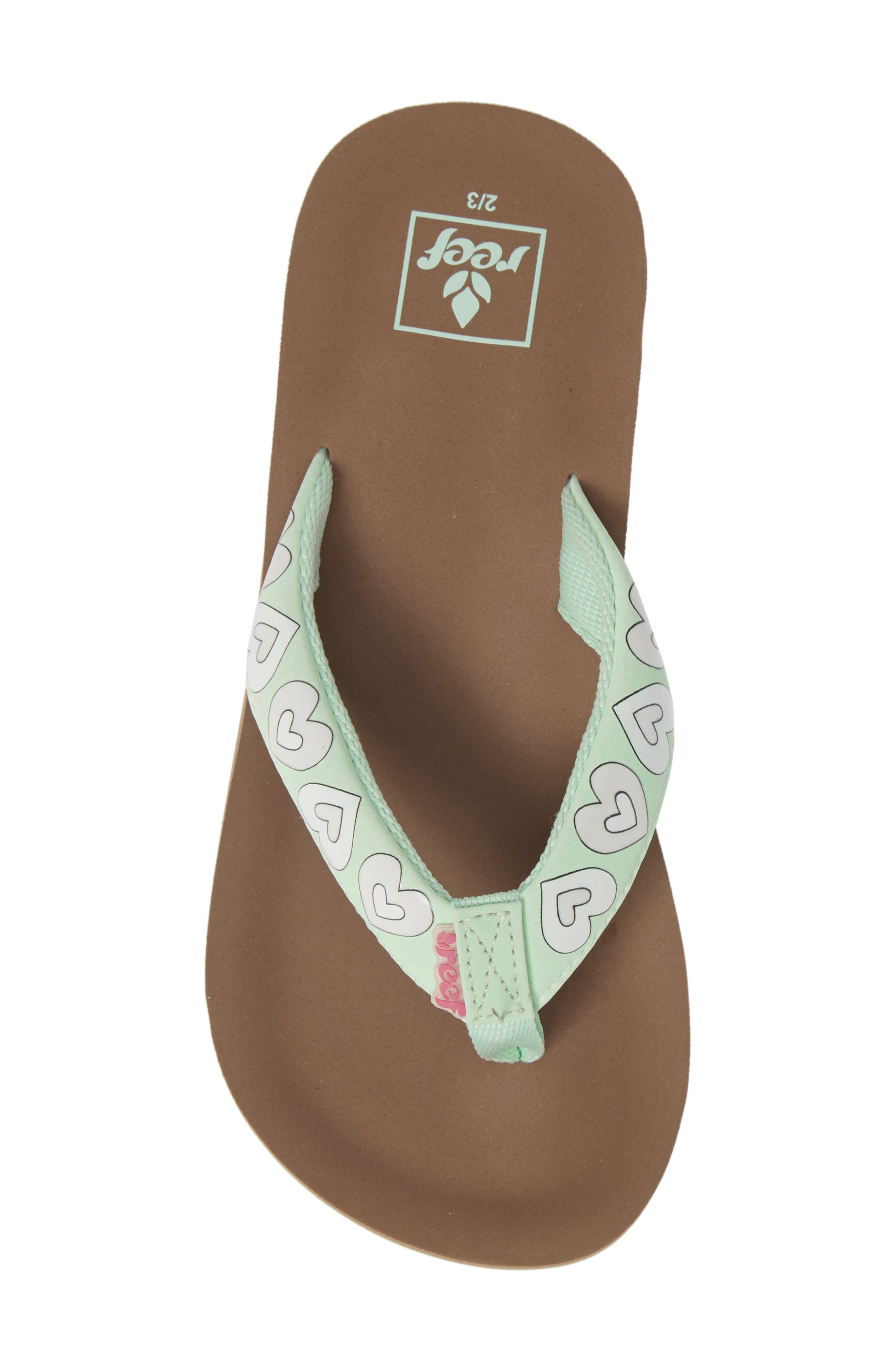 REEF, Little Ahi Color Change Flip Flop, Alternate thumbnail 5, color, MINT HEARTS