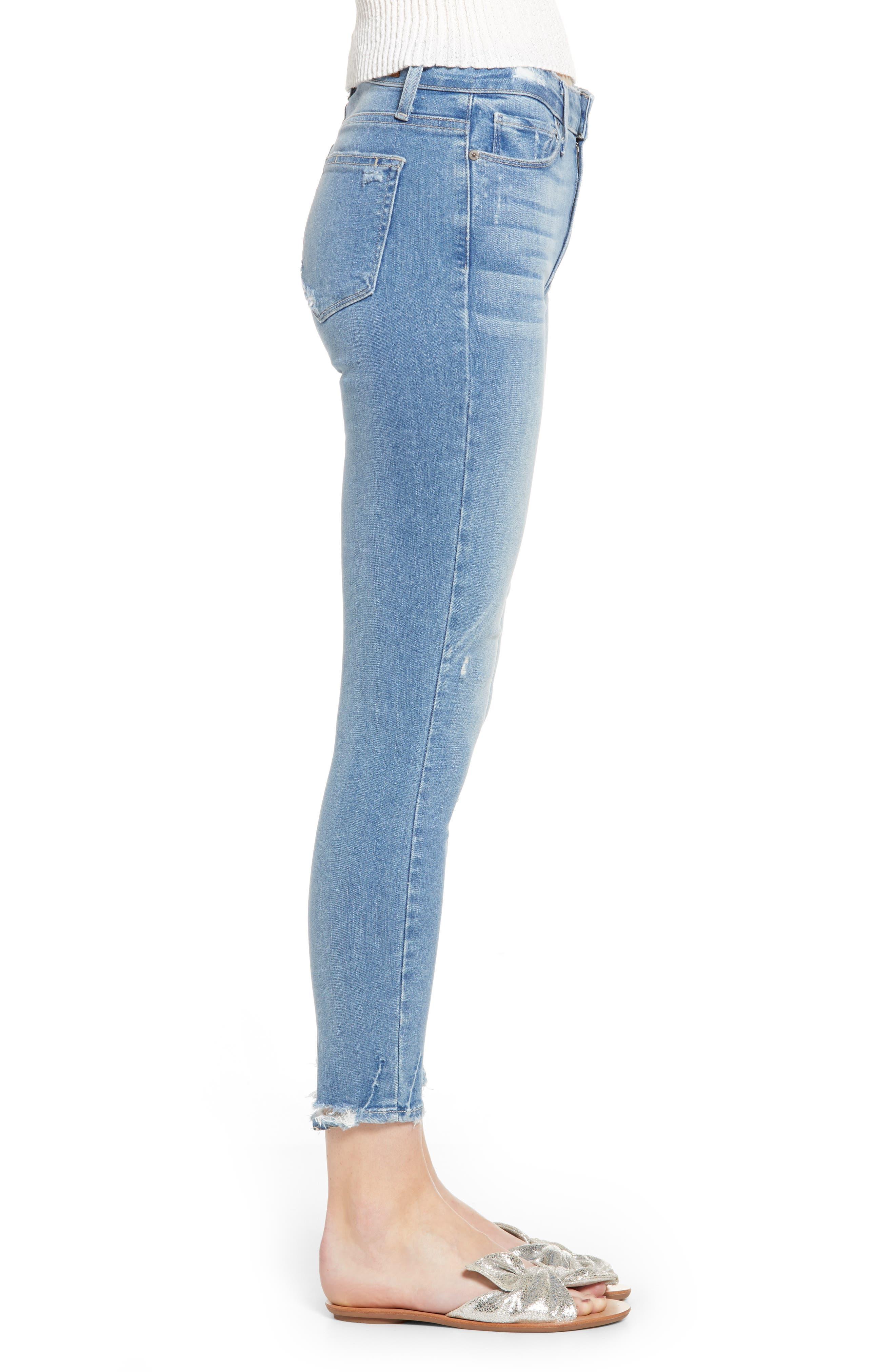 PAIGE, Hoxton Transcend Vintage High Waist Crop Skinny Jeans, Alternate thumbnail 4, color, ATTERBURY W/ TORN BACK HEM
