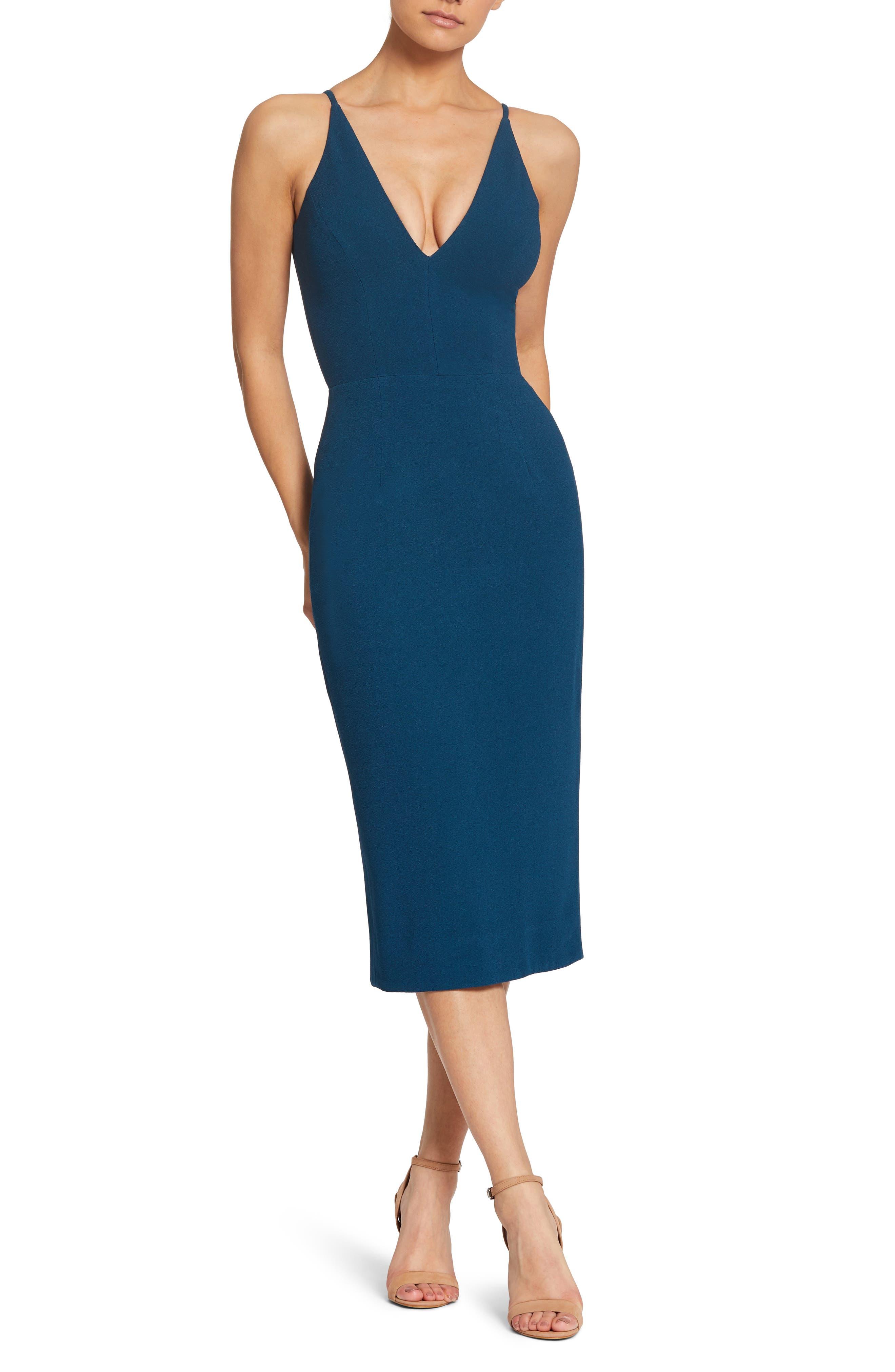 Dress The Population Lyla Crepe Sheath Dress, Blue