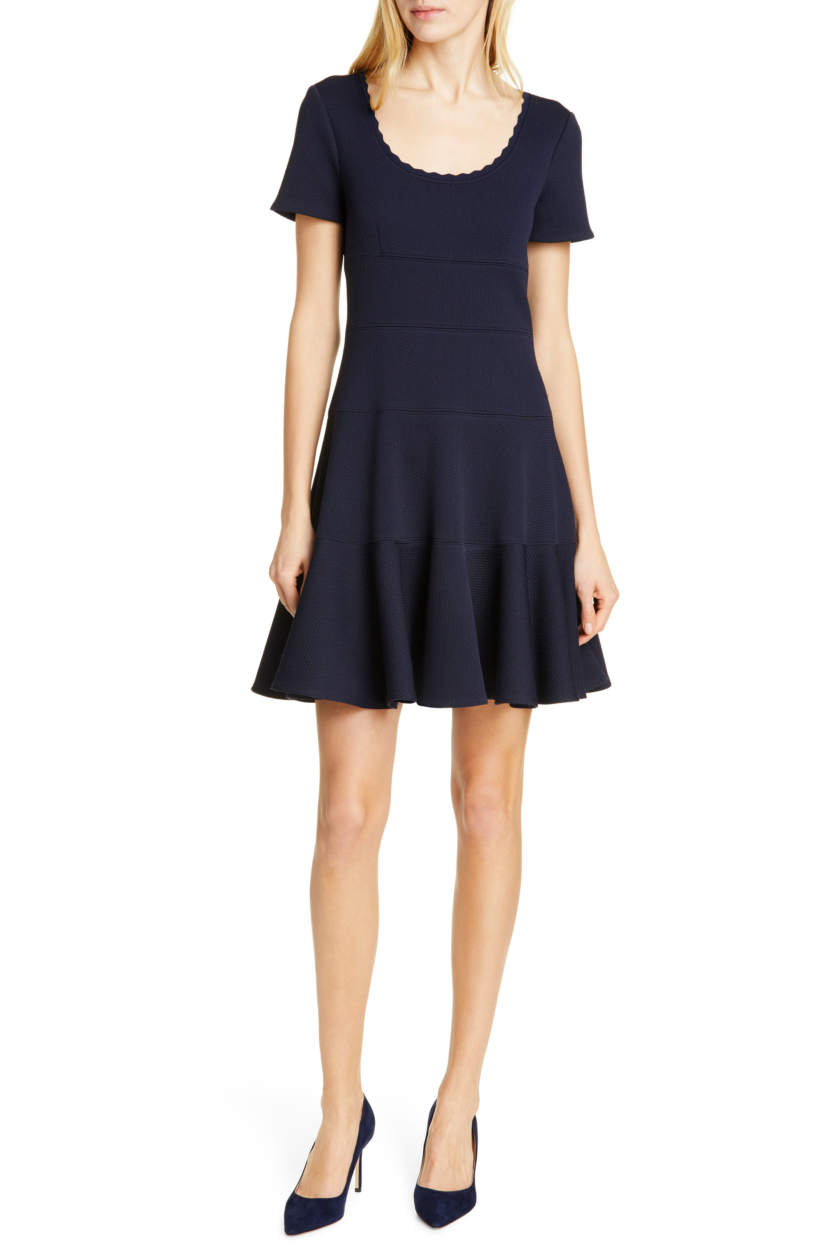 REBECCA TAYLOR, Textured Scallop Detail Fit & Flare Dress, Main thumbnail 1, color, NAVY