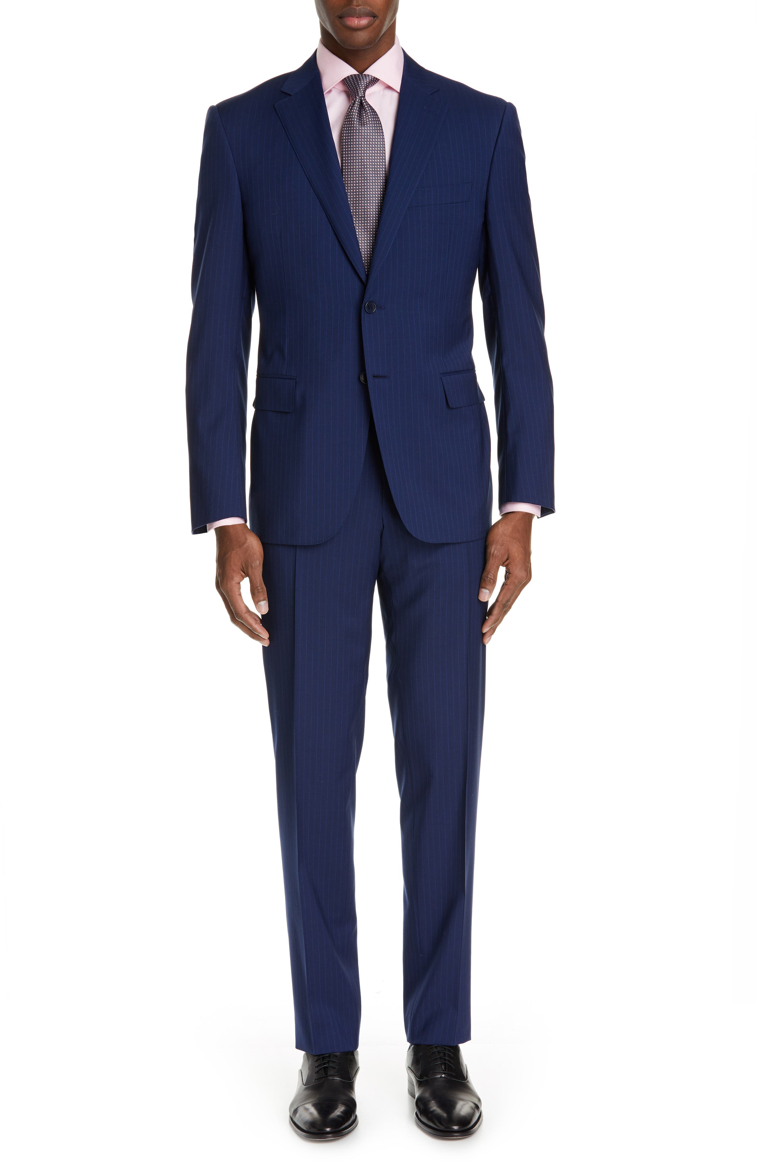 CANALI, Sienna Classic Fit Stripe Wool Suit, Main thumbnail 1, color, BLUE