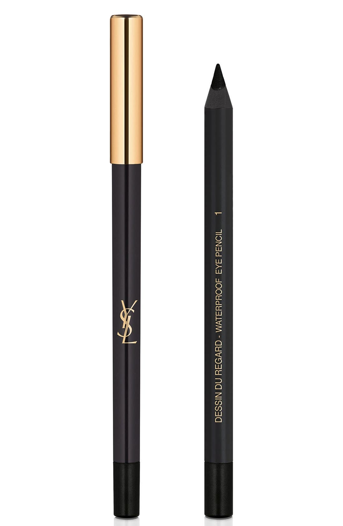 YVES SAINT LAURENT, Dessin du Regard Waterproof Eyeliner Pencil, Main thumbnail 1, color, 01 BLACK