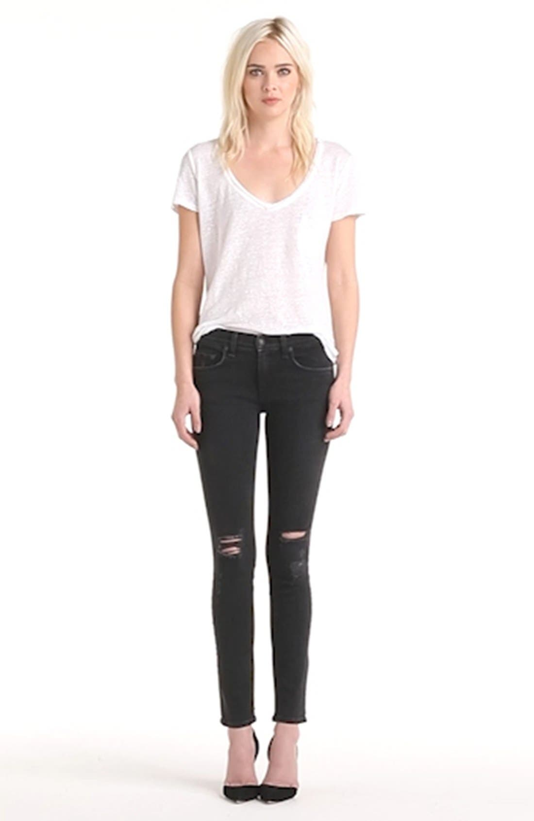 RAG & BONE, JEAN Shredded Skinny Jeans, Alternate thumbnail 2, color, 001