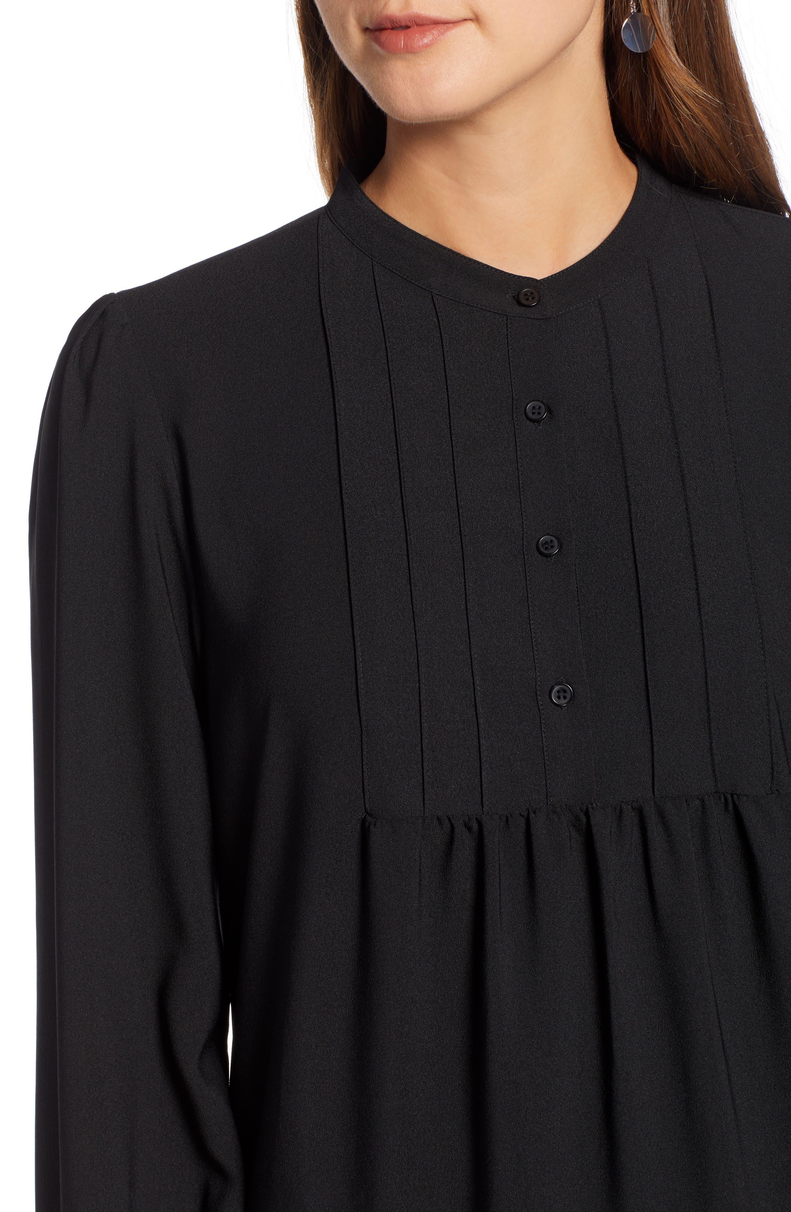 HALOGEN<SUP>®</SUP>, Pintuck Detail Shift Dress, Alternate thumbnail 5, color, BLACK