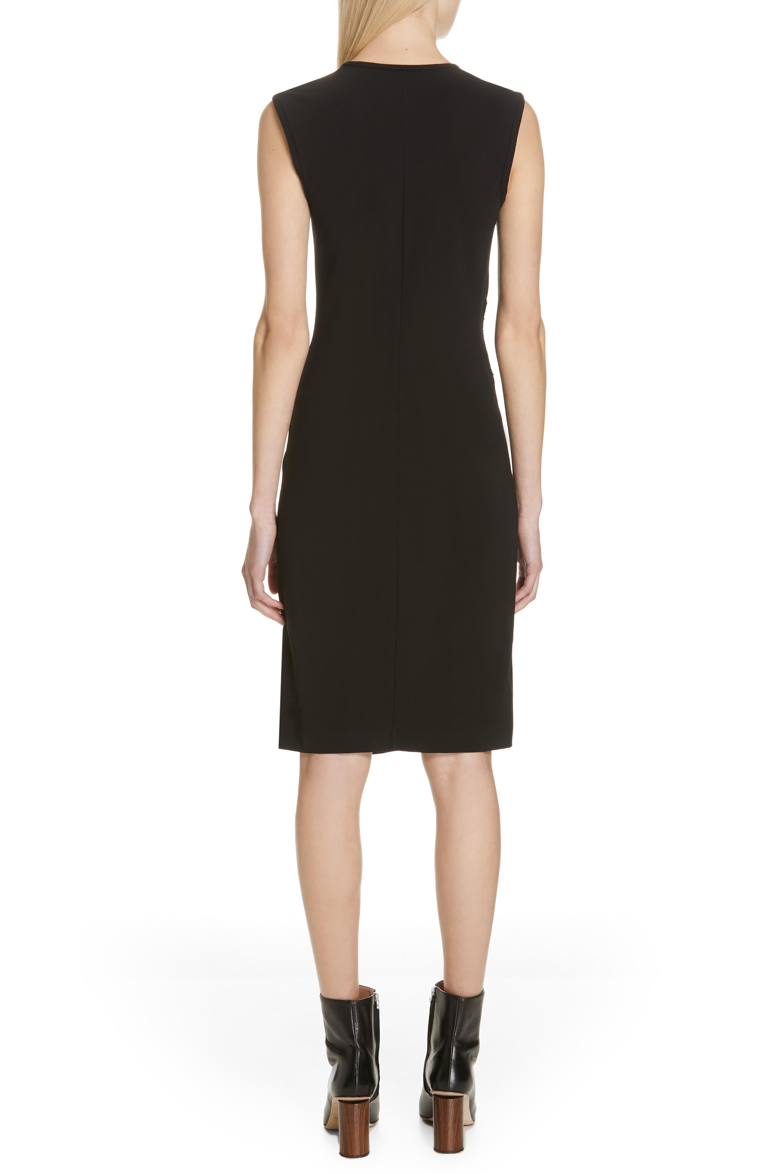 HELMUT LANG, Pleated Jersey Dress, Alternate thumbnail 2, color, BLACK