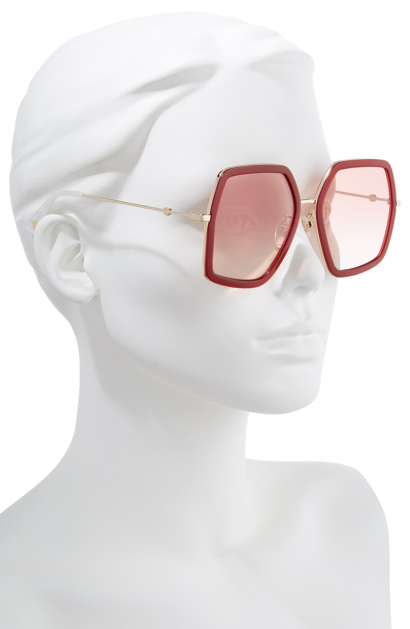 GUCCI, 56mm Sunglasses, Alternate thumbnail 2, color, SHINY ENDURA GLD/PK GRAD MIR