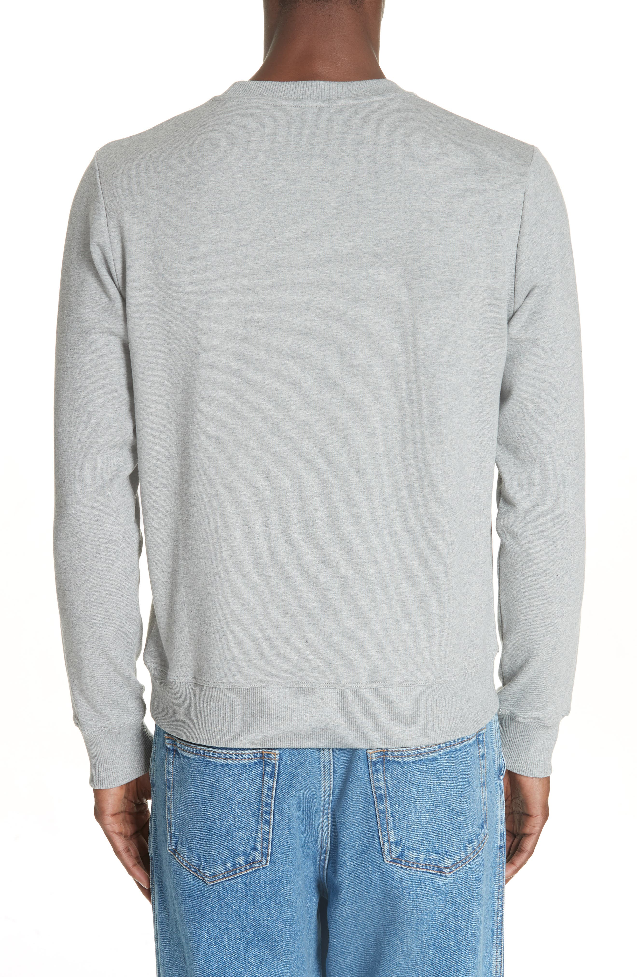 LOEWE, Embroidered Anagram Logo Sweatshirt, Alternate thumbnail 2, color, 1120 GREY