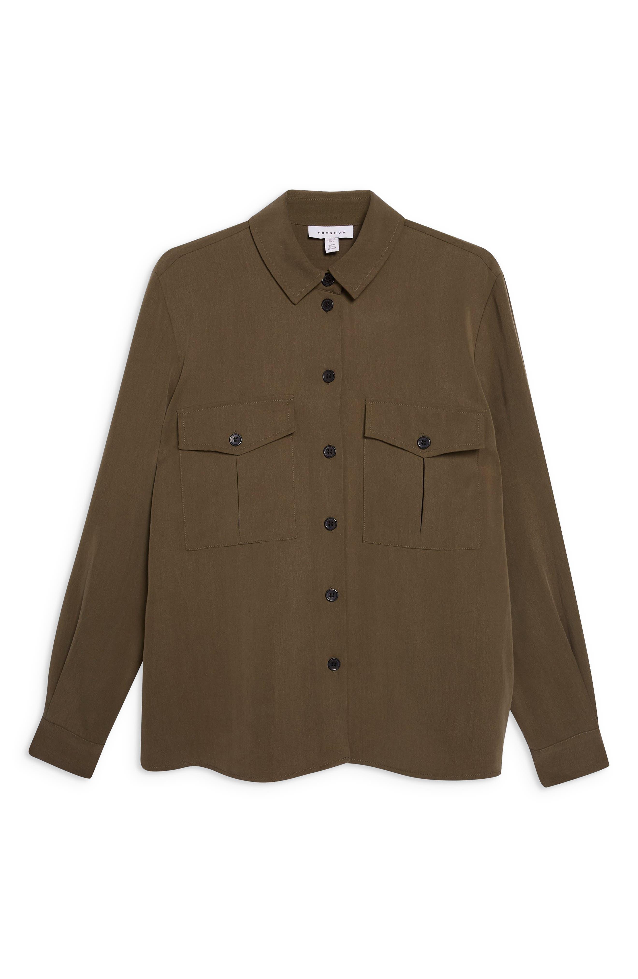 TOPSHOP, Double Pocket Utility Shirt, Alternate thumbnail 3, color, OLIVE