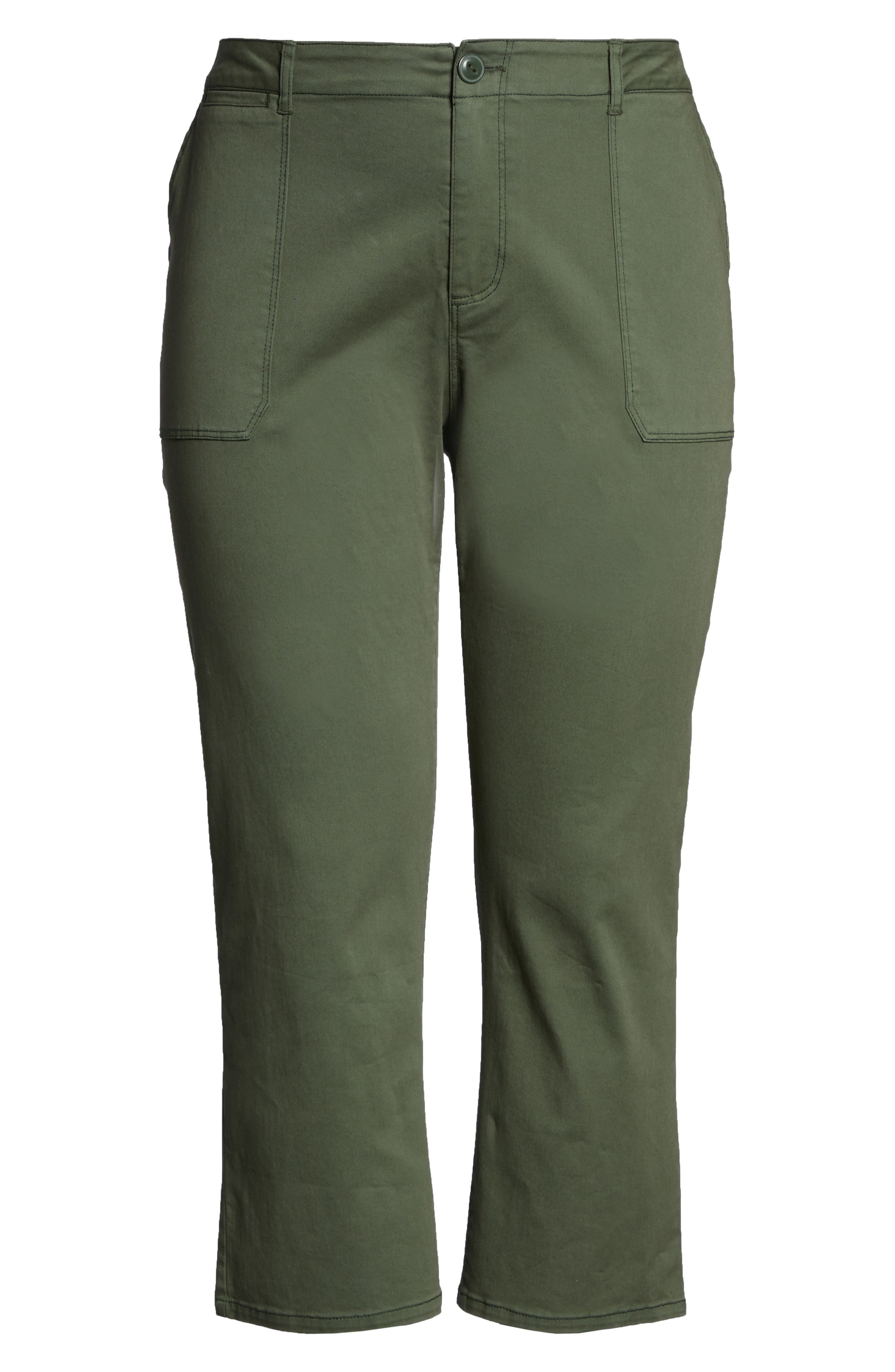 SANCTUARY, Peace Crop Chino Pants, Alternate thumbnail 7, color, PEACE GREEN