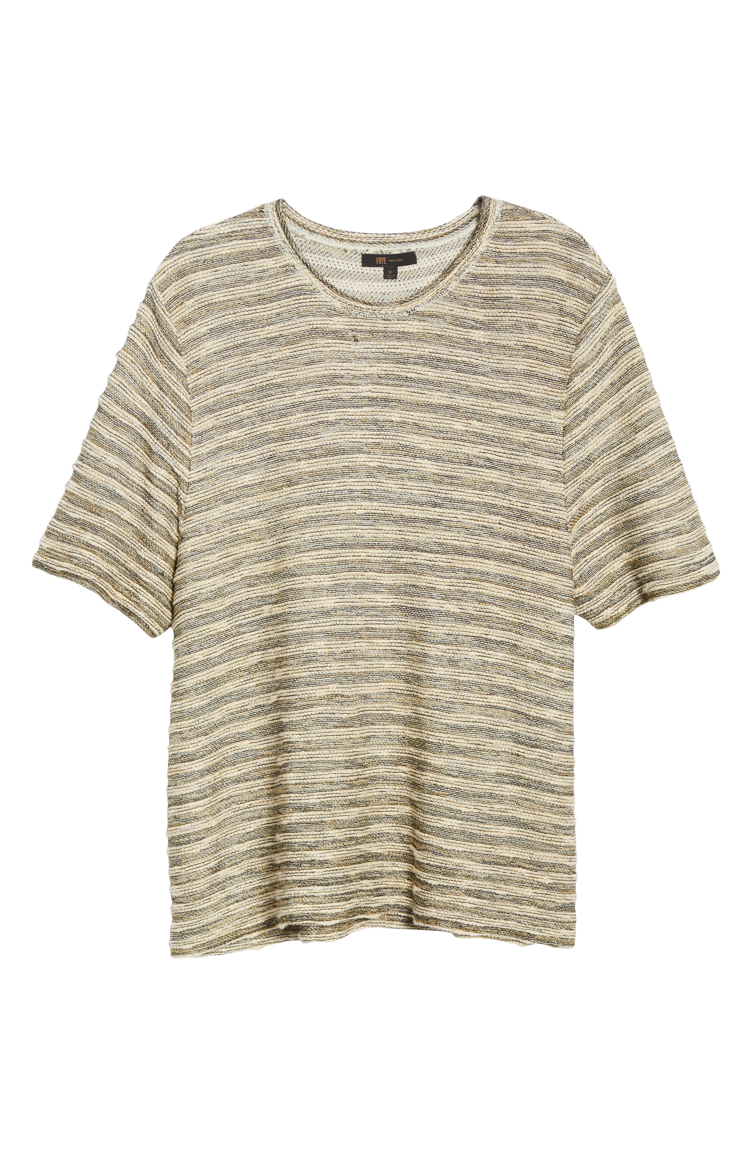 FRYE, Stripe Jacquard Regular Fit T-Shirt, Alternate thumbnail 6, color, WHITE
