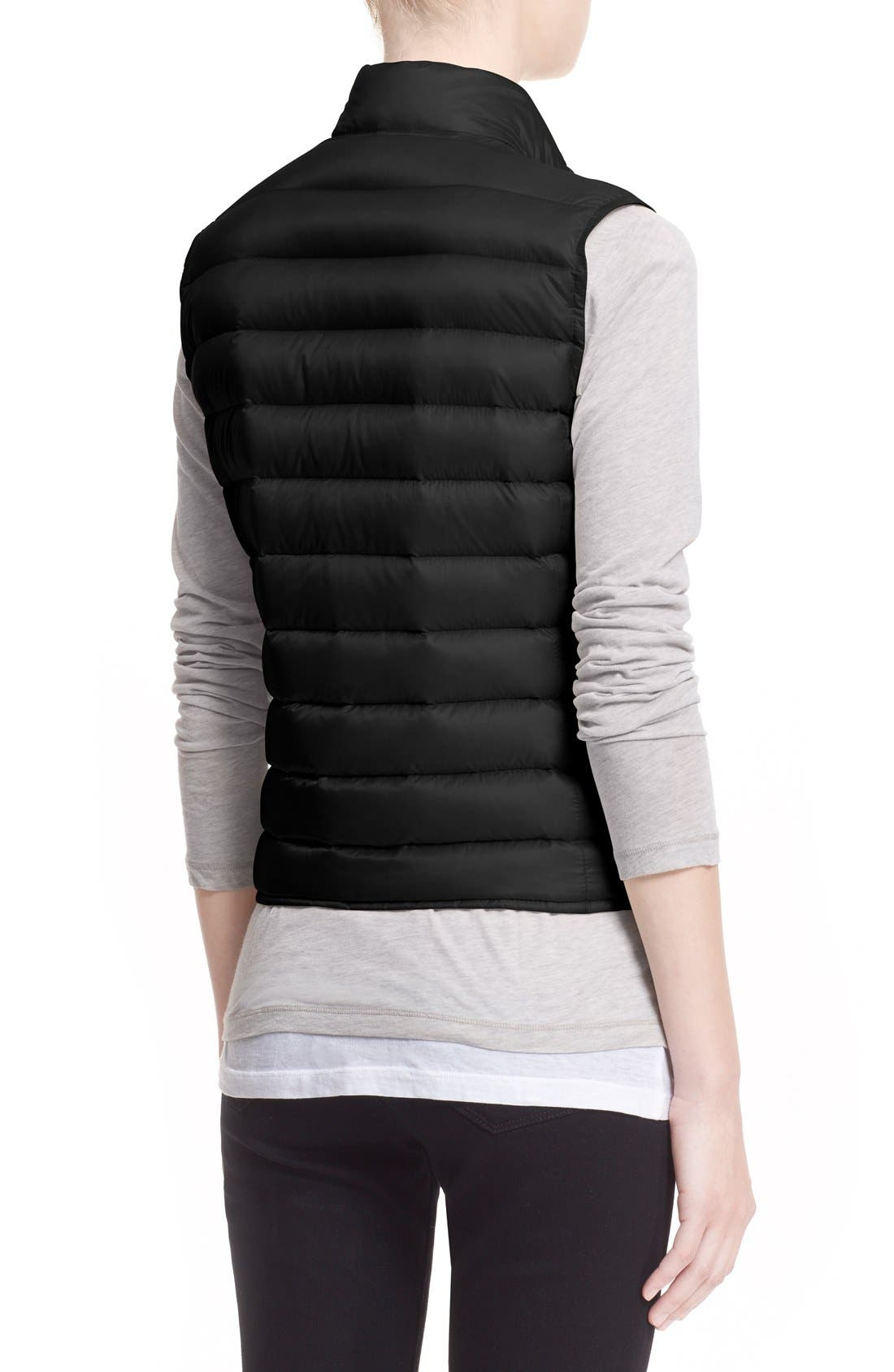MONCLER, 'Liane' Water Resistant Short Down Vest, Alternate thumbnail 2, color, BLACK