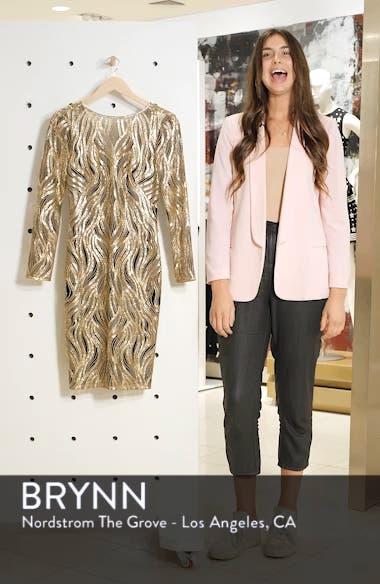 Long Sleeve Sequin Mesh Cocktail Dress, sales video thumbnail
