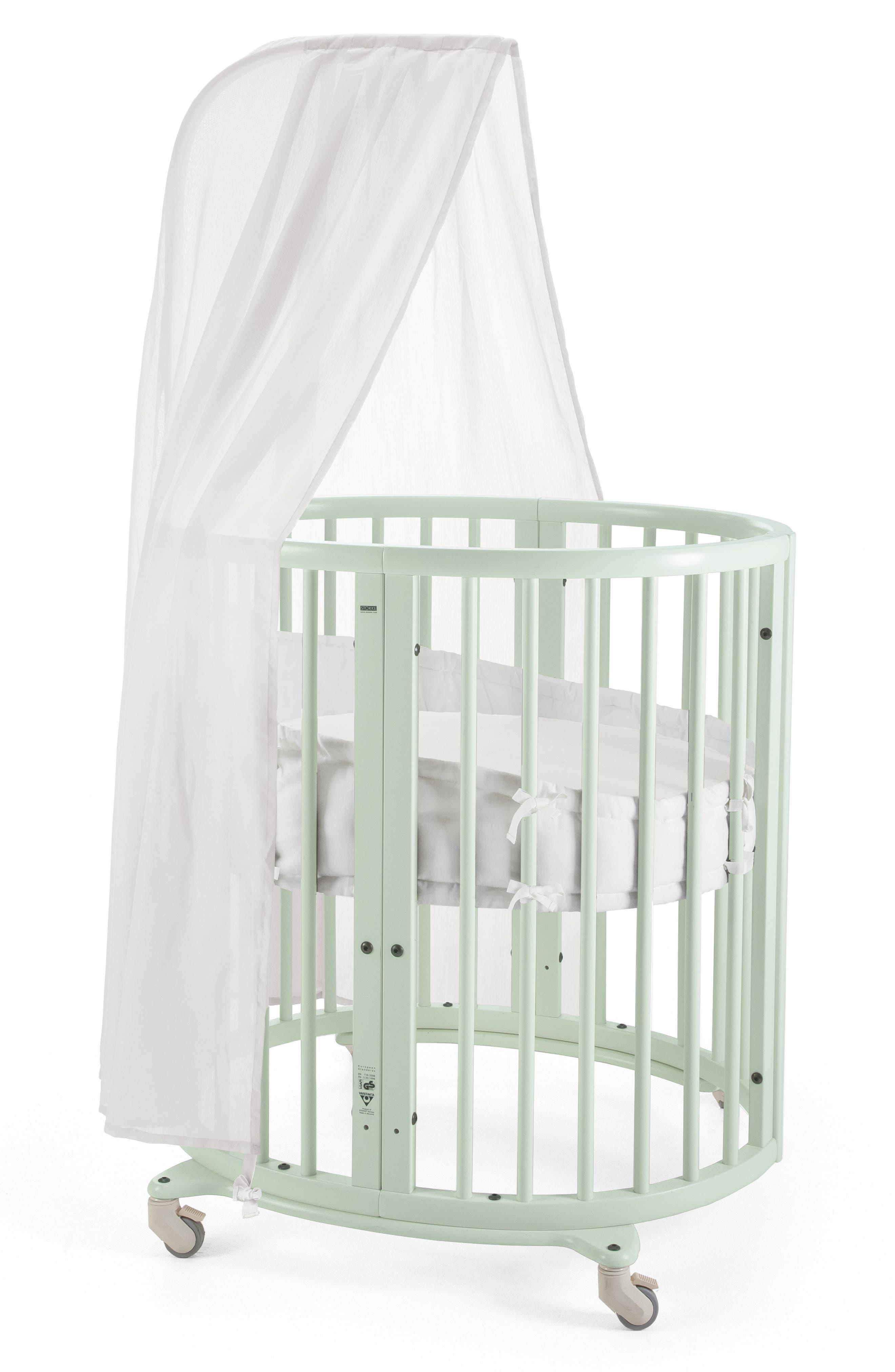 STOKKE, Sleepi Mini Crib, Drape Rod & Mattress Bundle, Alternate thumbnail 2, color, MINT GREEN