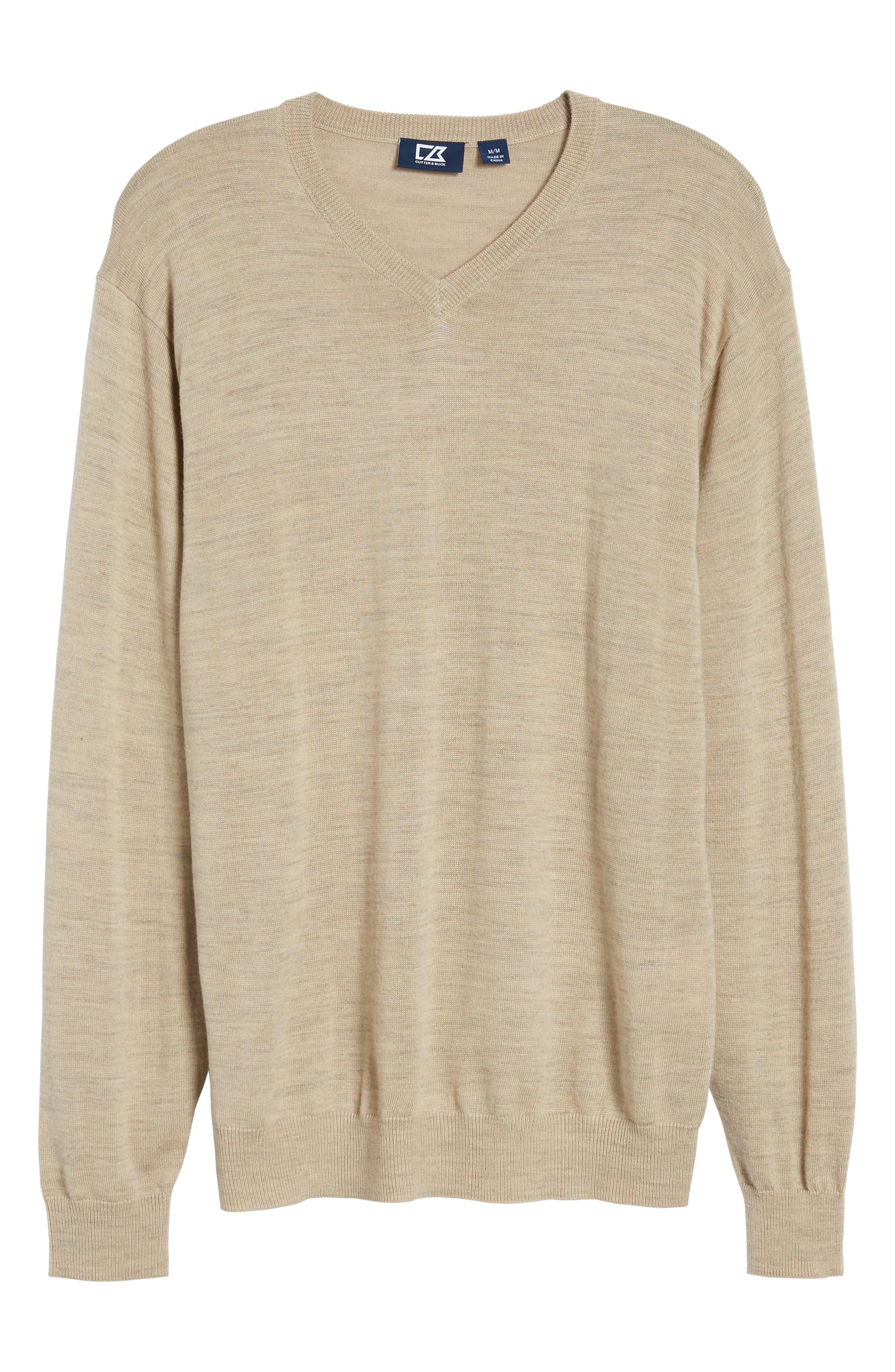 CUTTER & BUCK, 'Douglas' Merino Wool Blend V-Neck Sweater, Alternate thumbnail 6, color, SAND HEATHER