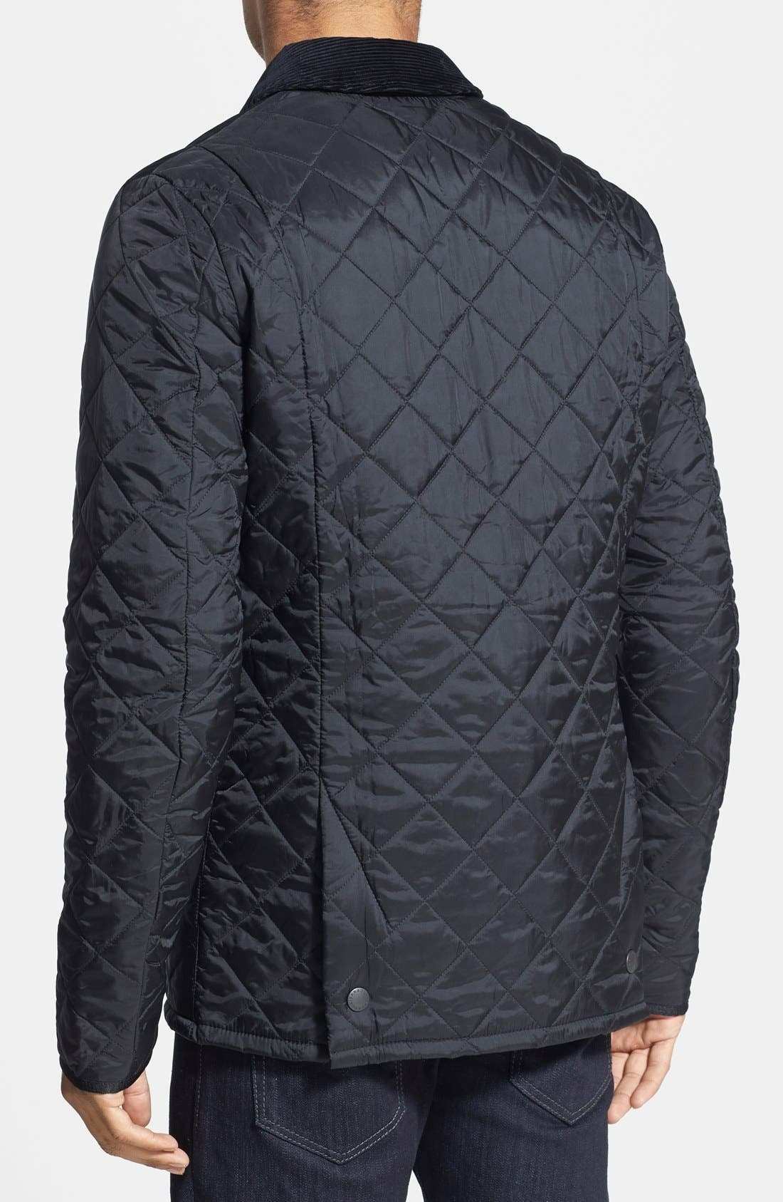 BARBOUR, Heritage Liddesdale Regular Fit Quilted Jacket, Alternate thumbnail 3, color, BLACK