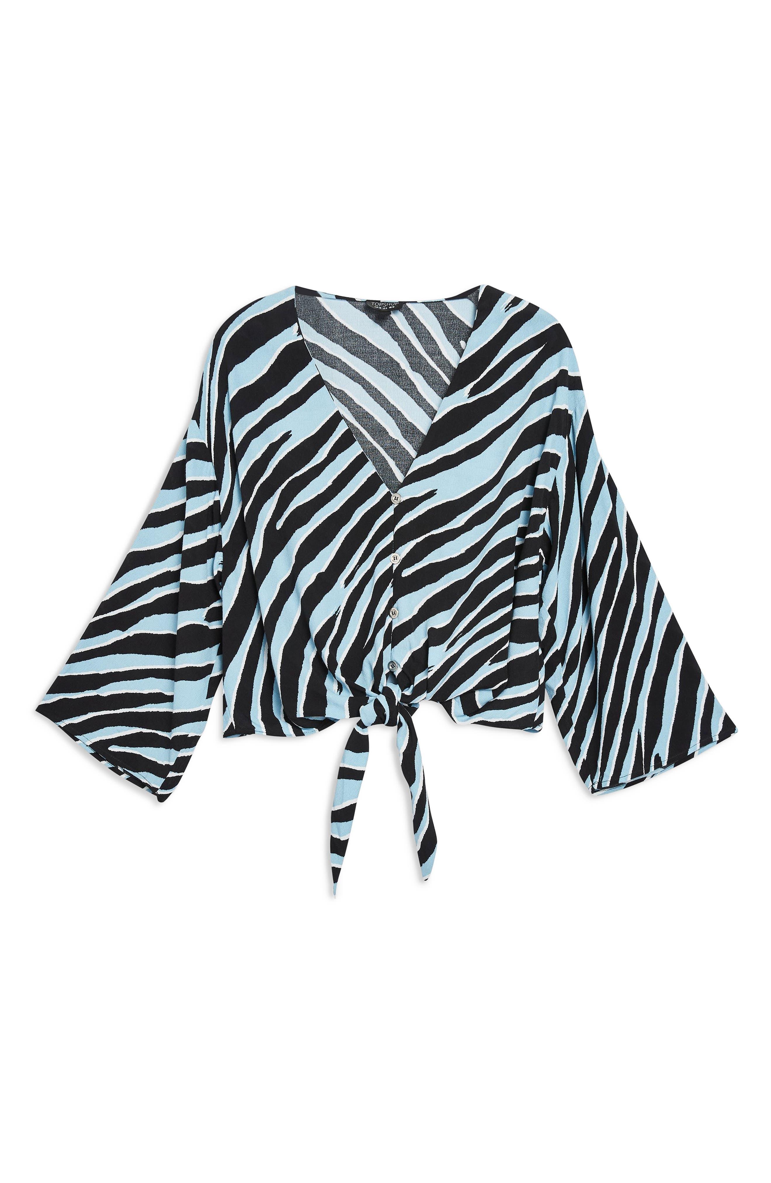 TOPSHOP, Zebra Tie Front Top, Alternate thumbnail 4, color, 400