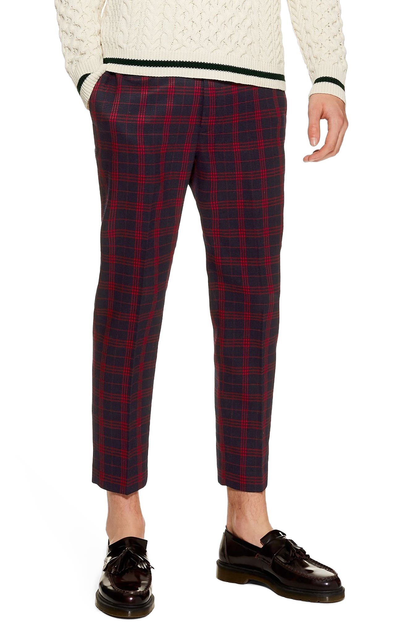 TOPMAN, Plaid Tapered Trousers, Main thumbnail 1, color, 401