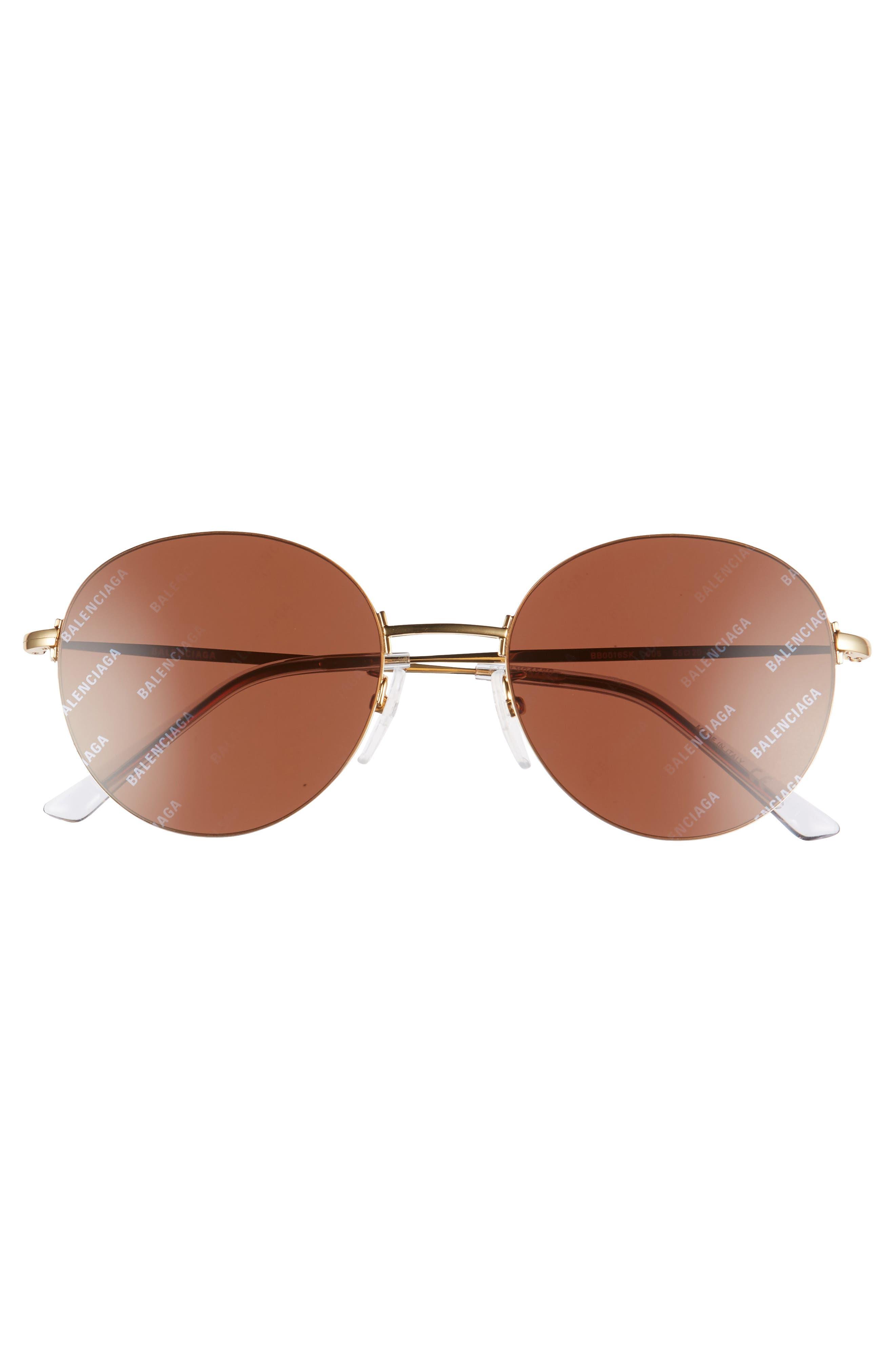 BALENCIAGA, 55mm Round Sunglasses, Alternate thumbnail 3, color, SHINY ENDURA GOLD/ BROWN