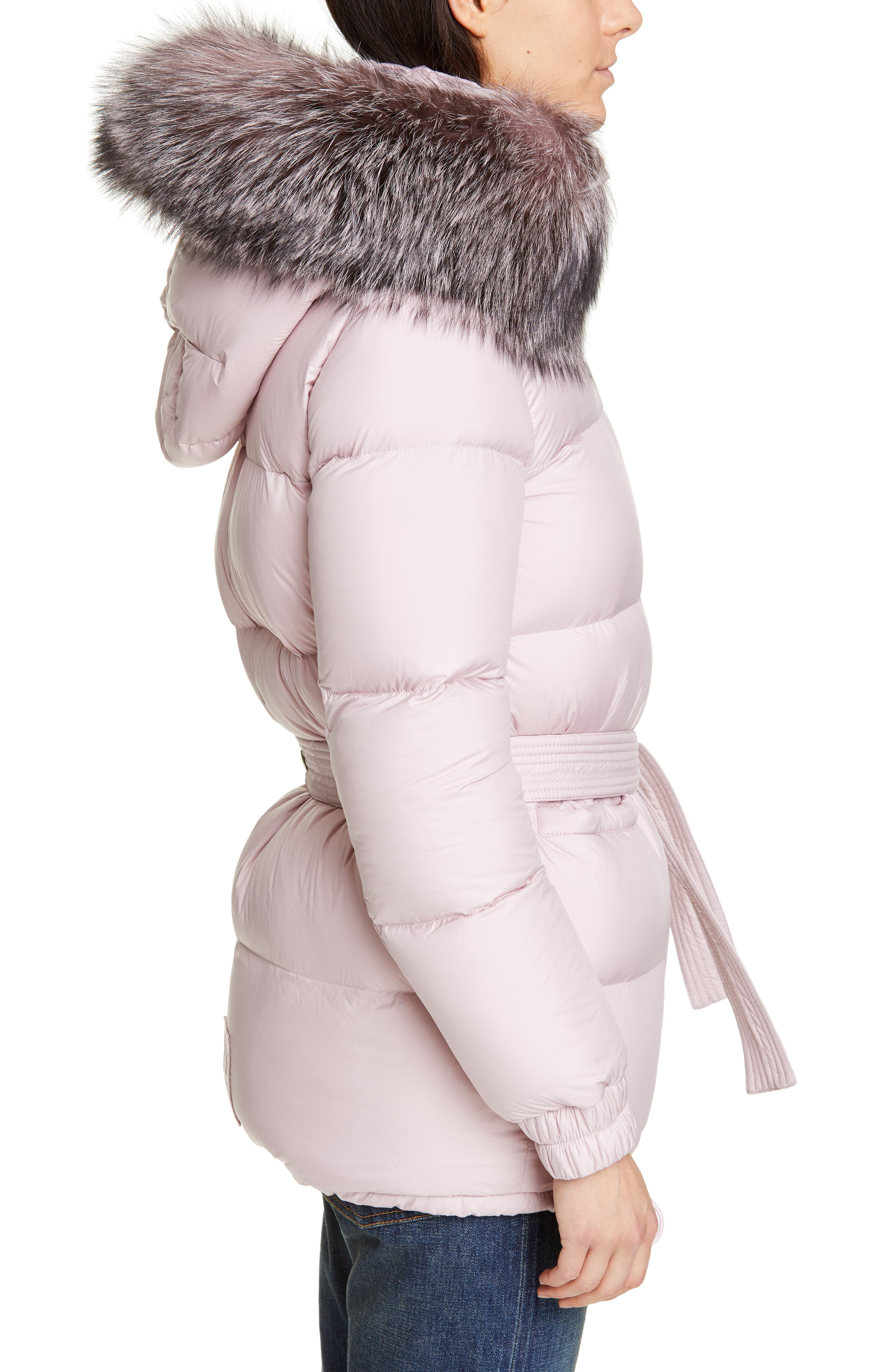 MR & MRS ITALY, Genuine Fox Fur Trim Quilted Down Puffer Coat, Alternate thumbnail 4, color, PINK