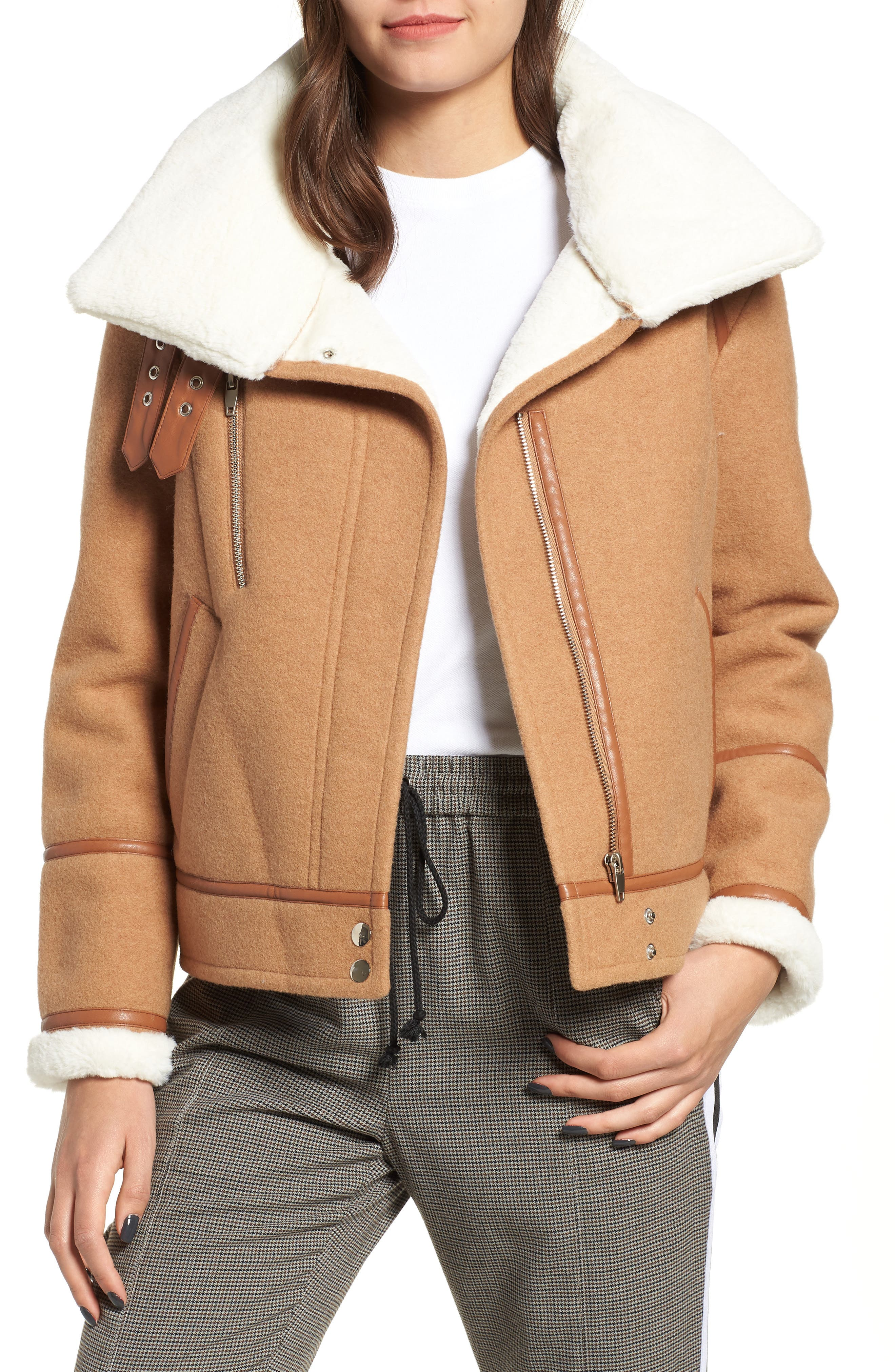 NVLT, Brushed Melton Wool Blend Jacket, Main thumbnail 1, color, CAMEL/ CREAM