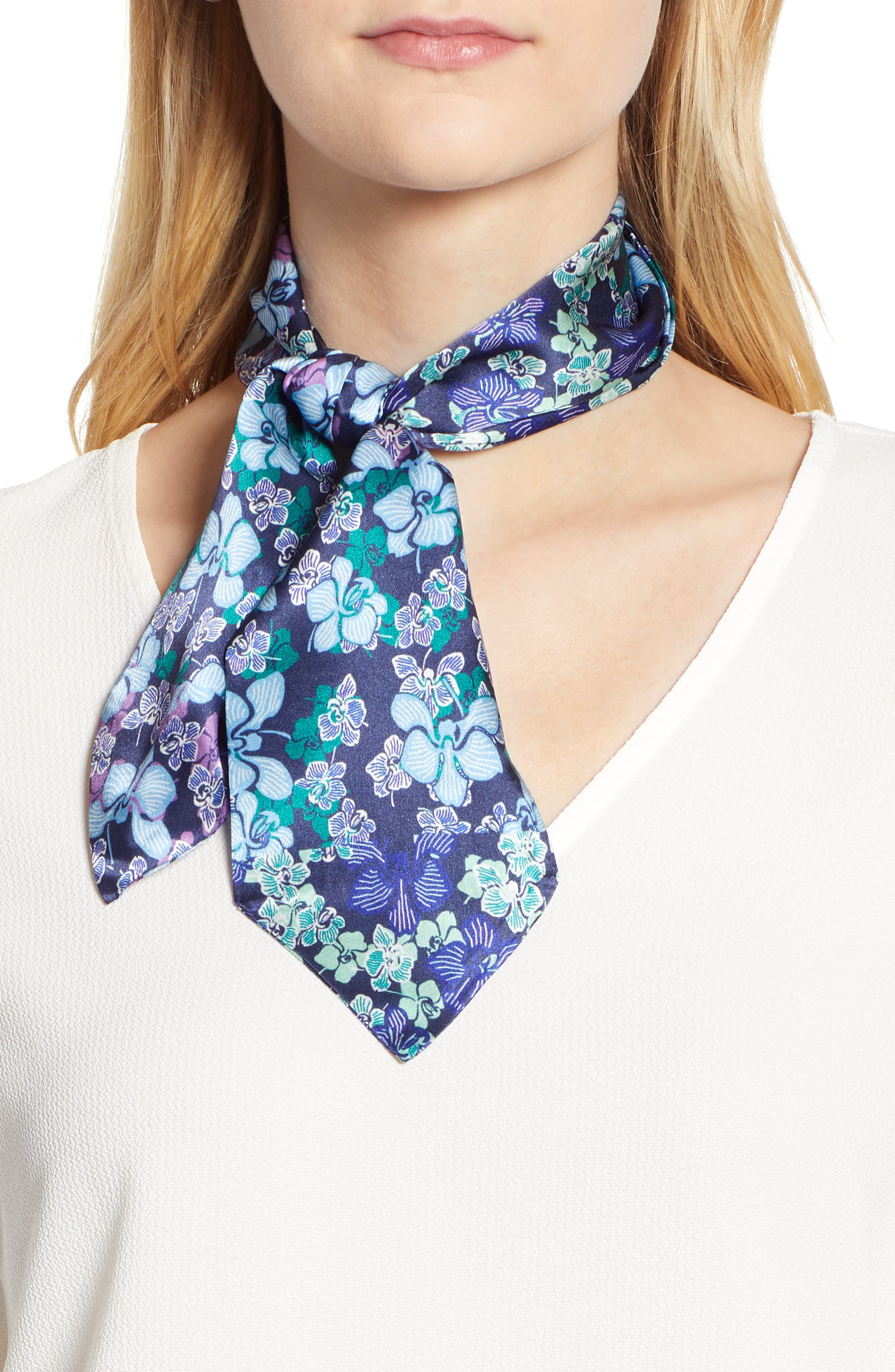 HALOGEN<SUP>®</SUP>, Floral Silk Tie Scarf, Main thumbnail 1, color, BLUE GLAM FLORA