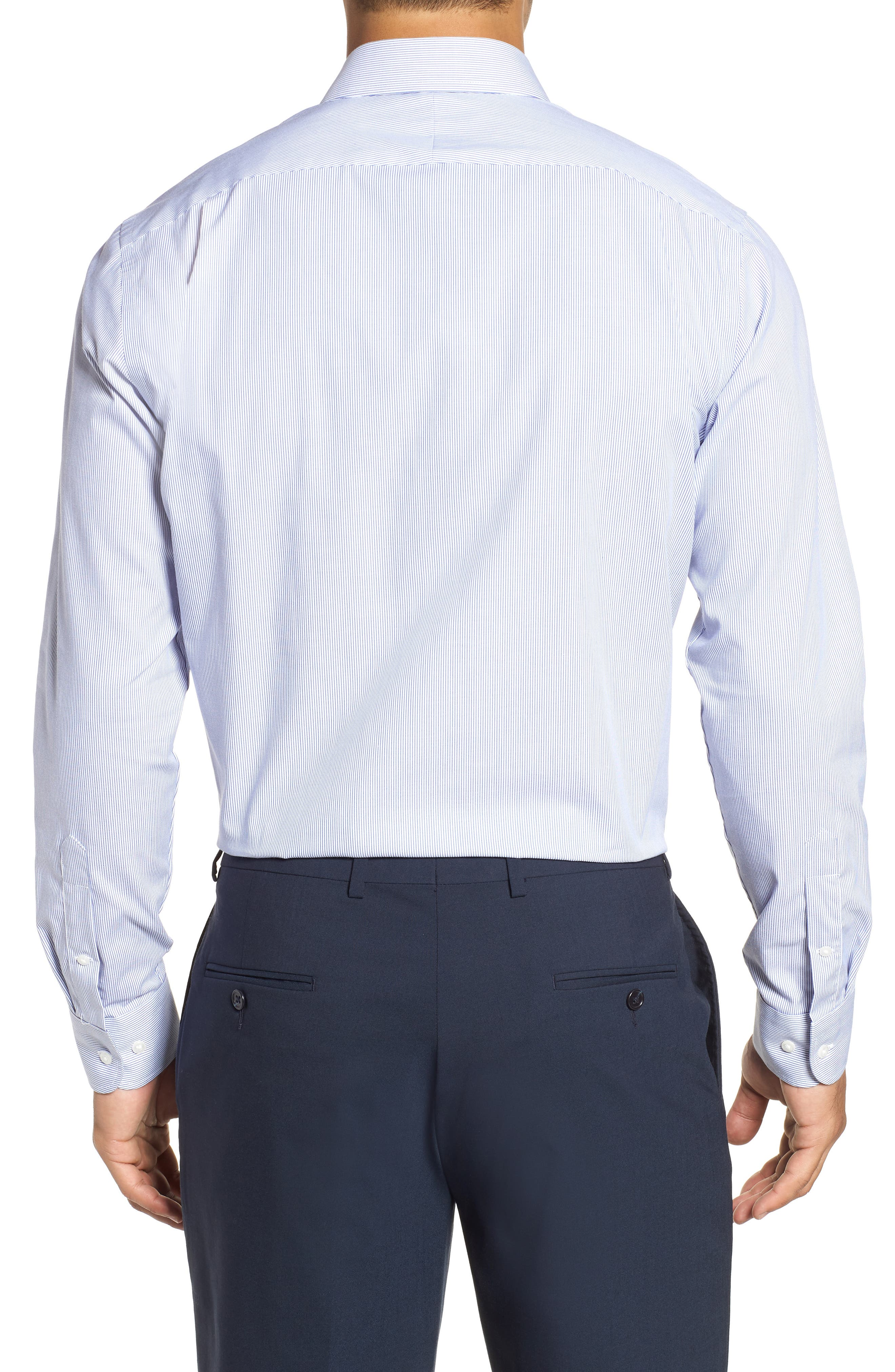 NORDSTROM MEN'S SHOP, Trim Fit Non-Iron Stripe Dress Shirt, Alternate thumbnail 3, color, NAVY PATRIOT